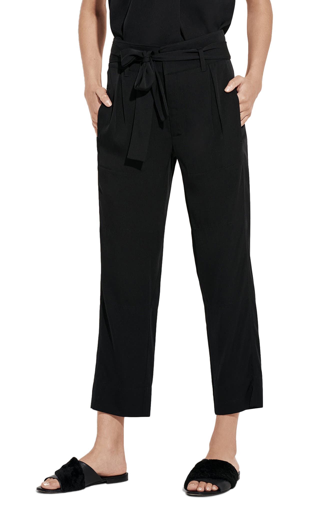 The Mirage High Waist Crop Straight Leg Pants,                         Main,                         color, Black