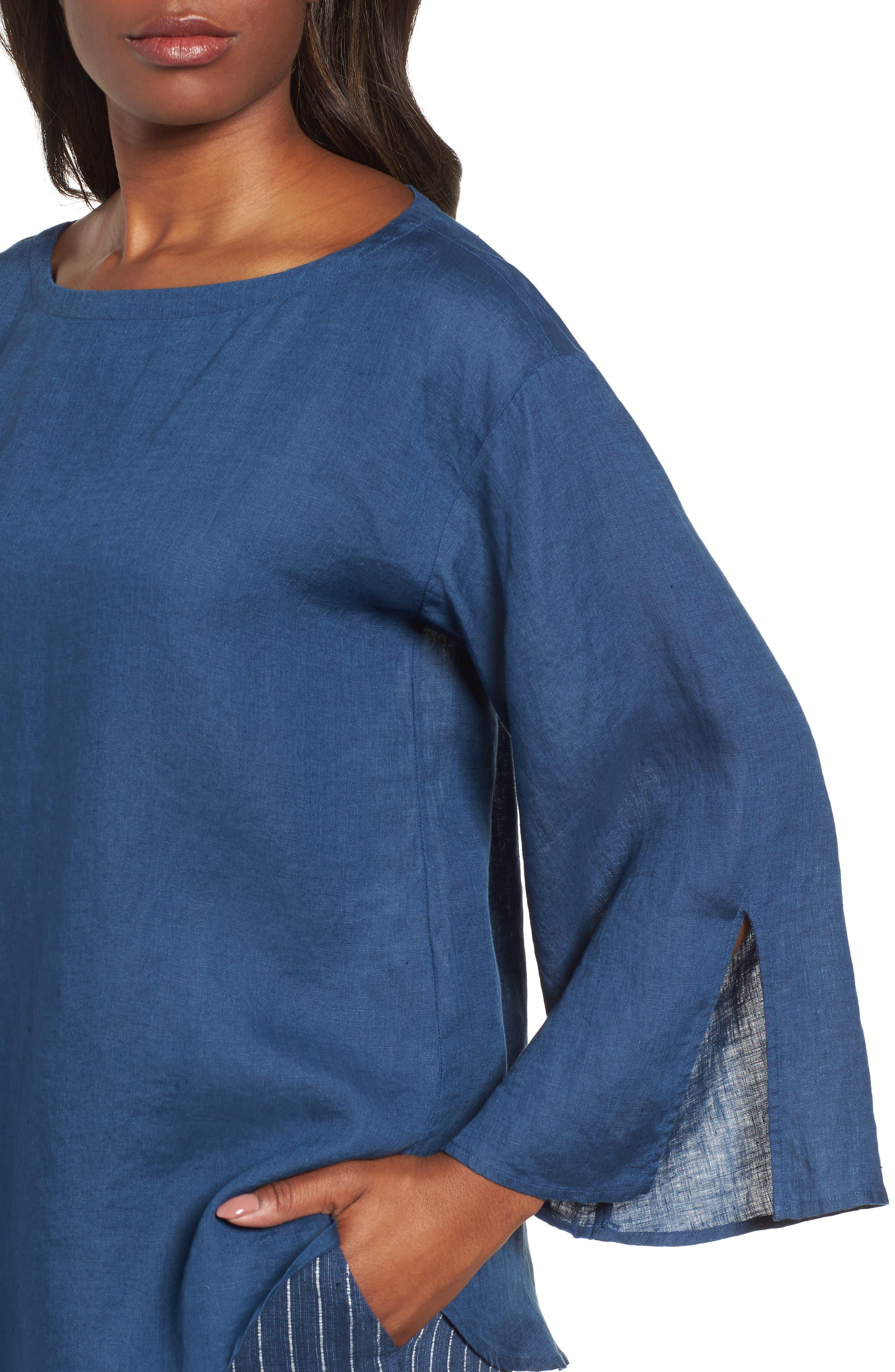 Woven Organic Linen Top,                             Alternate thumbnail 4, color,                             Denim