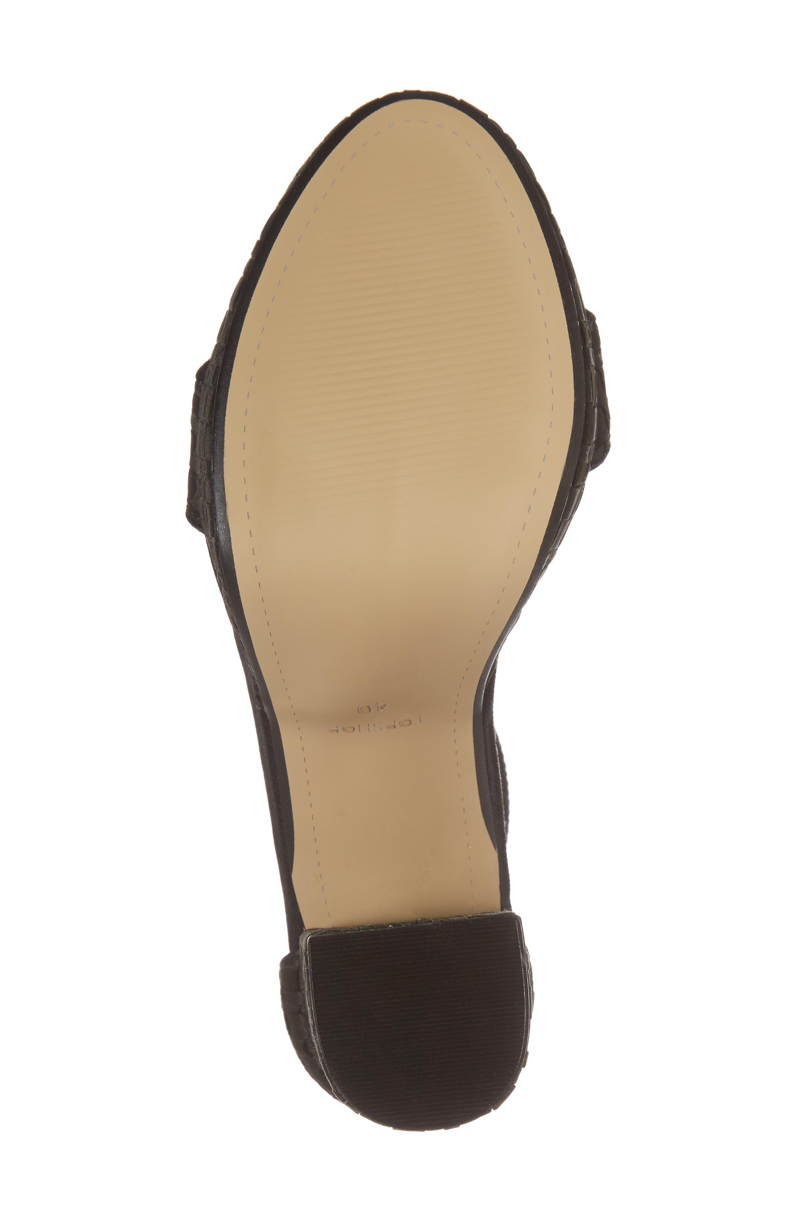 Sloane Woven Platform Sandal,                             Alternate thumbnail 6, color,                             Black
