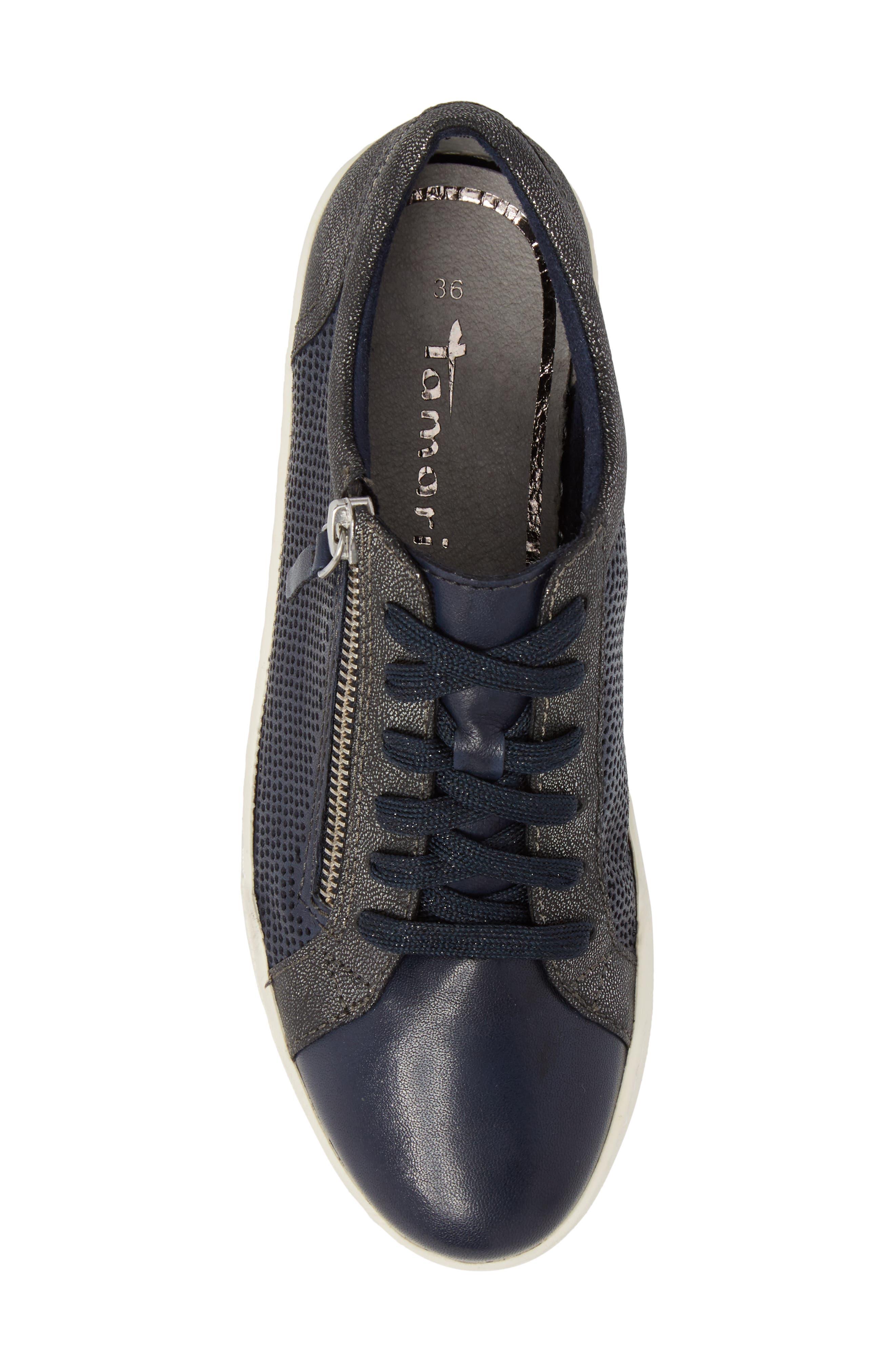 Freya Sneaker,                             Alternate thumbnail 5, color,                             Navy Leather
