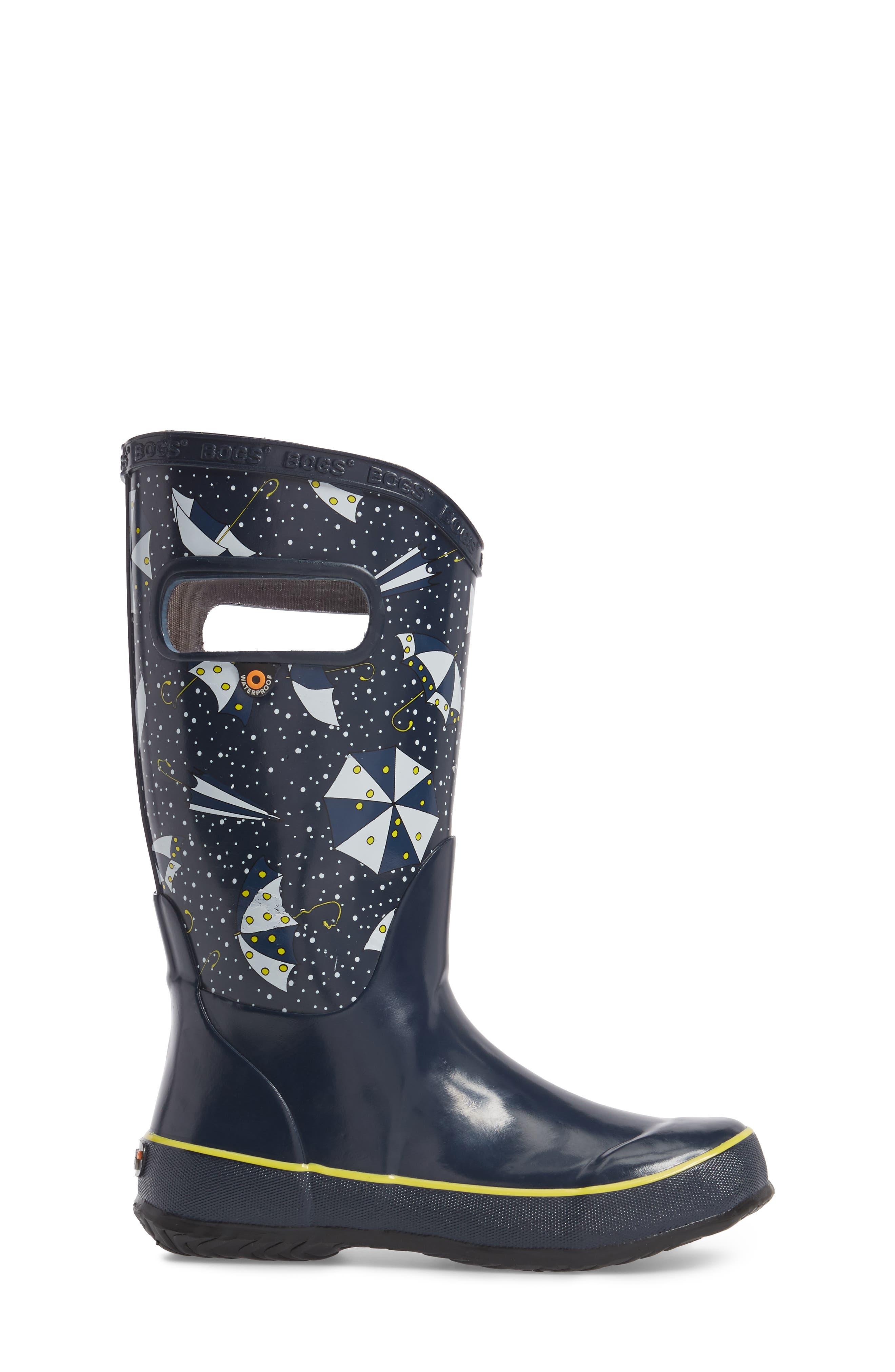 Umbrellas Waterproof Rubber Rain Boot,                             Alternate thumbnail 3, color,                             Dark Blue Multi