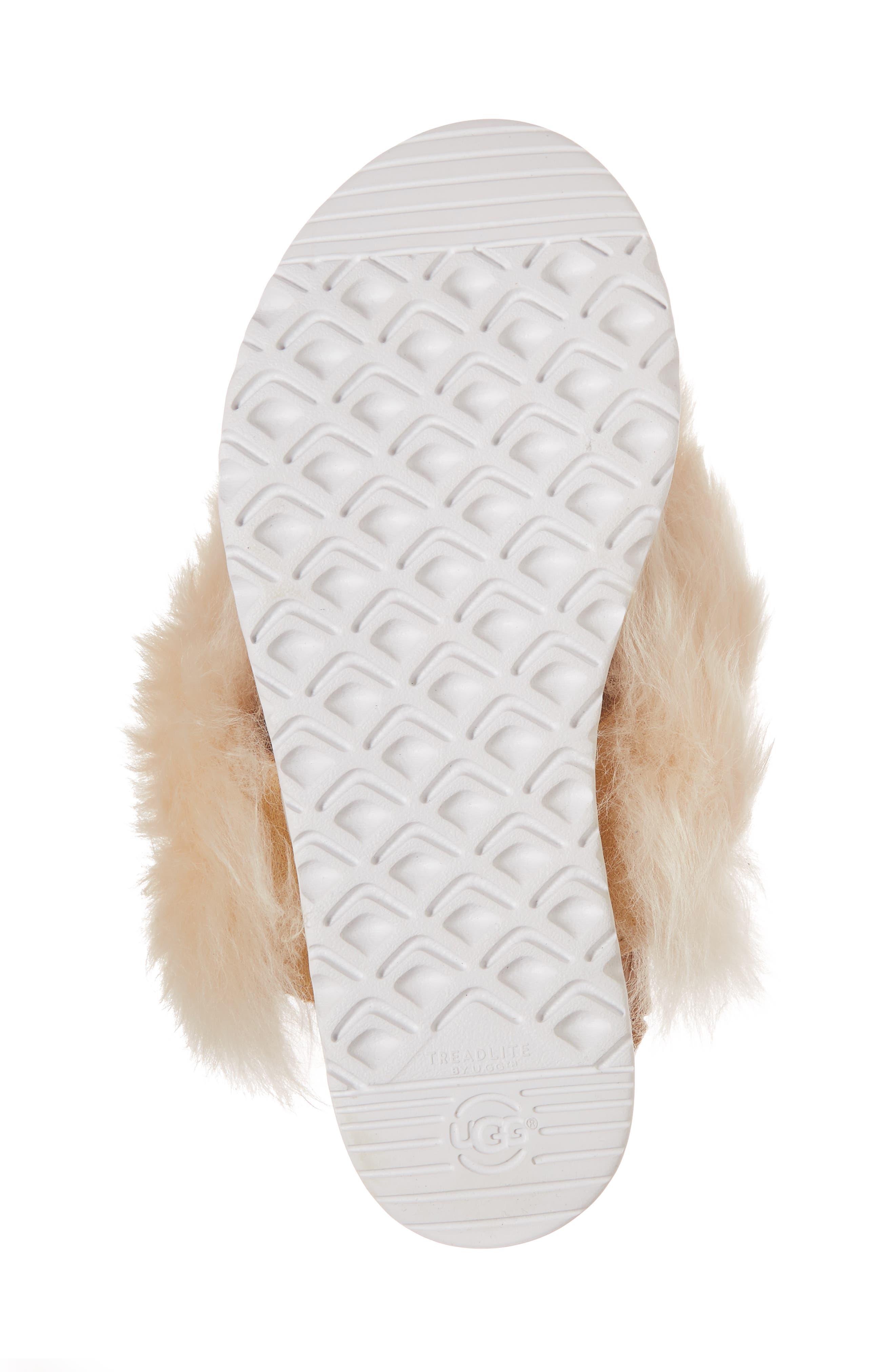 Punki Genuine Shearling Sandal,                             Alternate thumbnail 6, color,                             Natural/ Soft Ochre