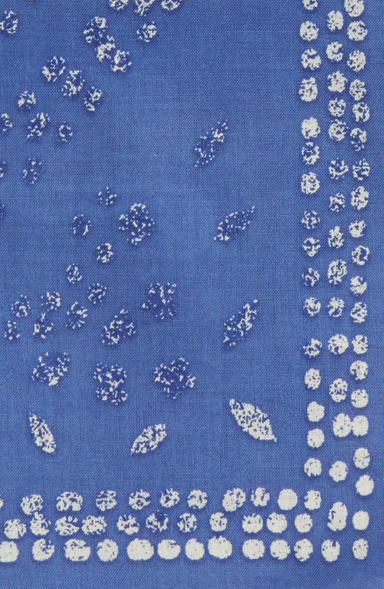 Batik Cotton Pocket Square,                             Alternate thumbnail 3, color,                             Ocean