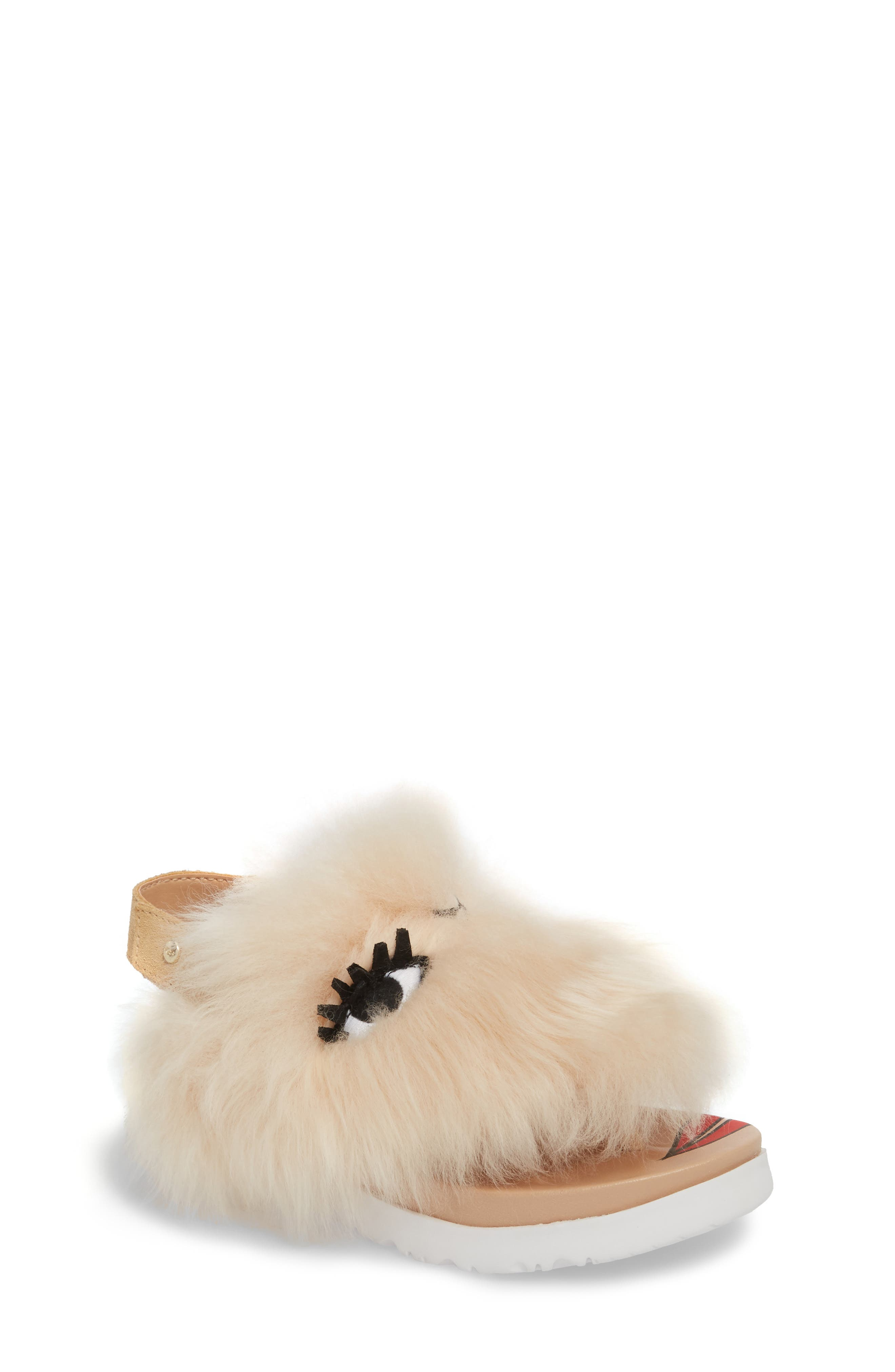 Punki Genuine Shearling Sandal,                             Main thumbnail 1, color,                             Natural/ Soft Ochre