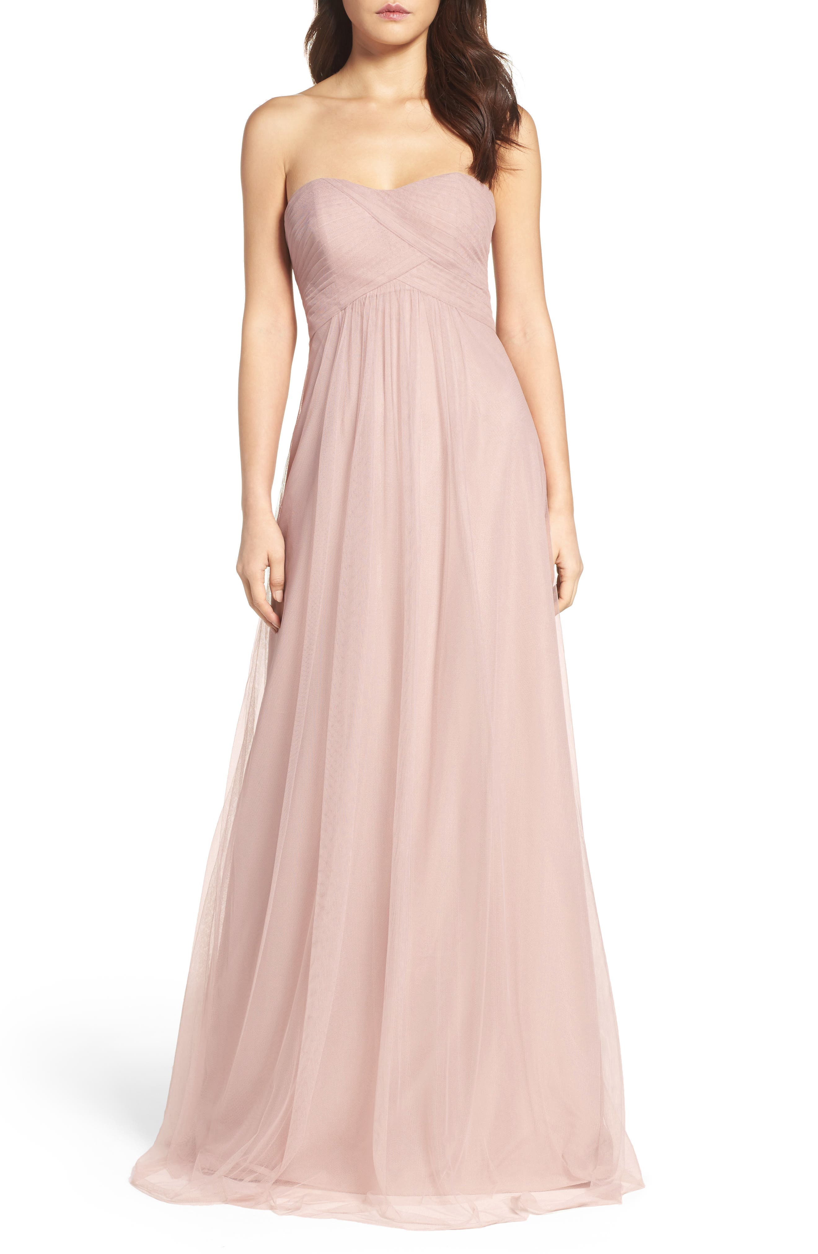 Strapless Tulle Gown,                             Main thumbnail 1, color,                             Latte