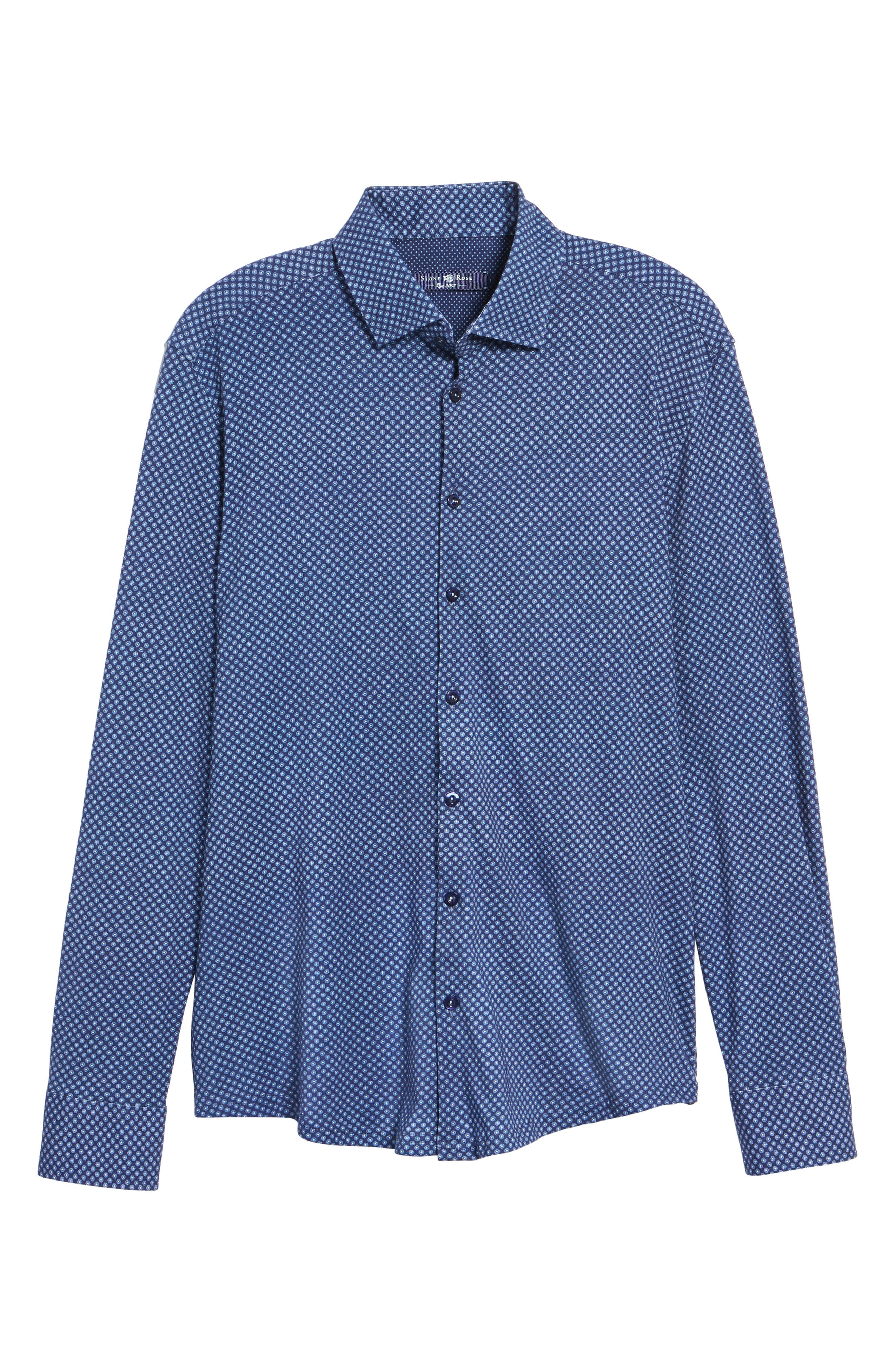 Floral Geo Print Knit Sport Shirt,                             Alternate thumbnail 6, color,                             Navy