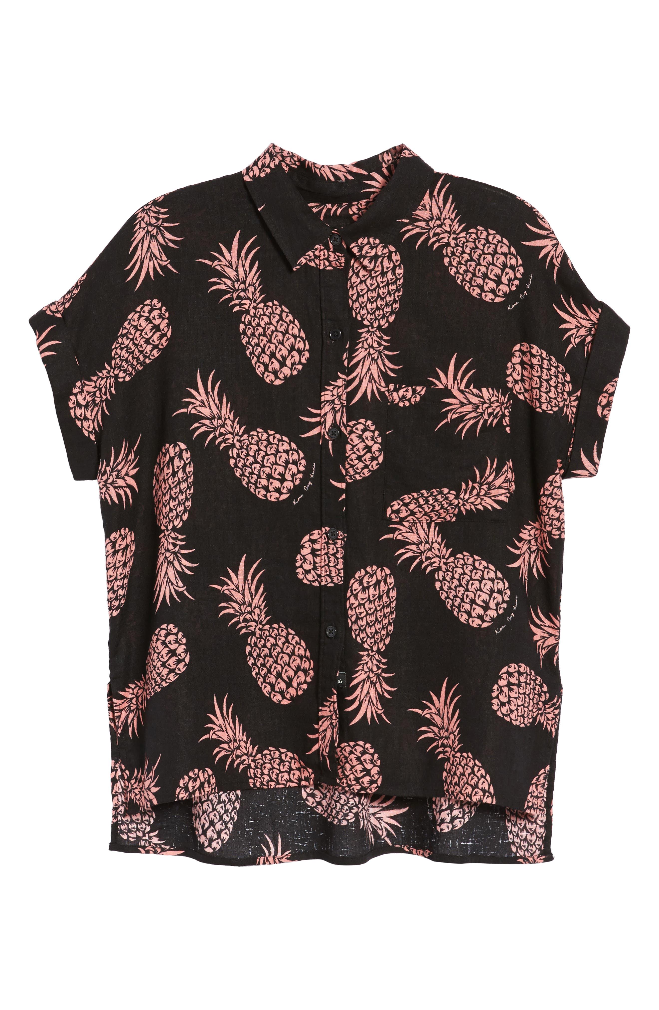 Whitney Pineapple Print Shirt,                             Alternate thumbnail 7, color,                             Pinya Print