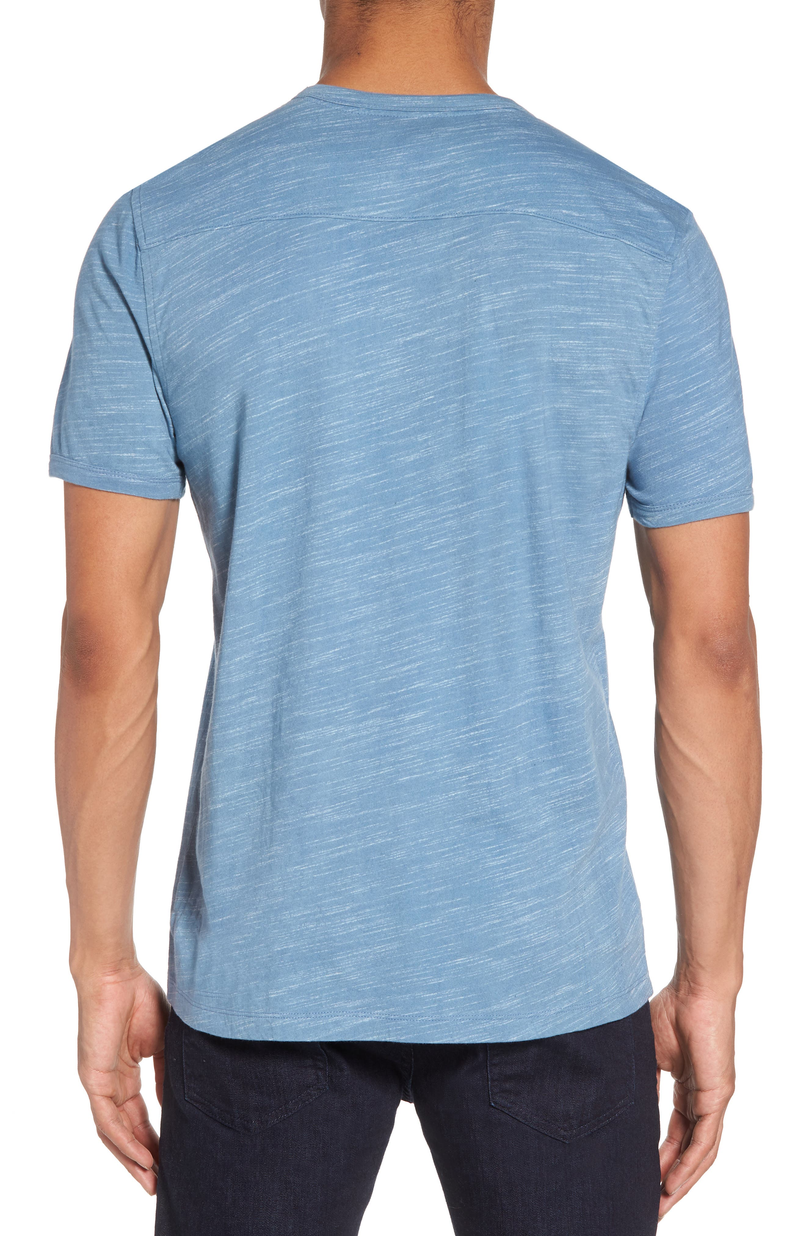 Space Dyed One-Button Henley T-Shirt,                             Alternate thumbnail 2, color,                             Blue Lake Spacedye