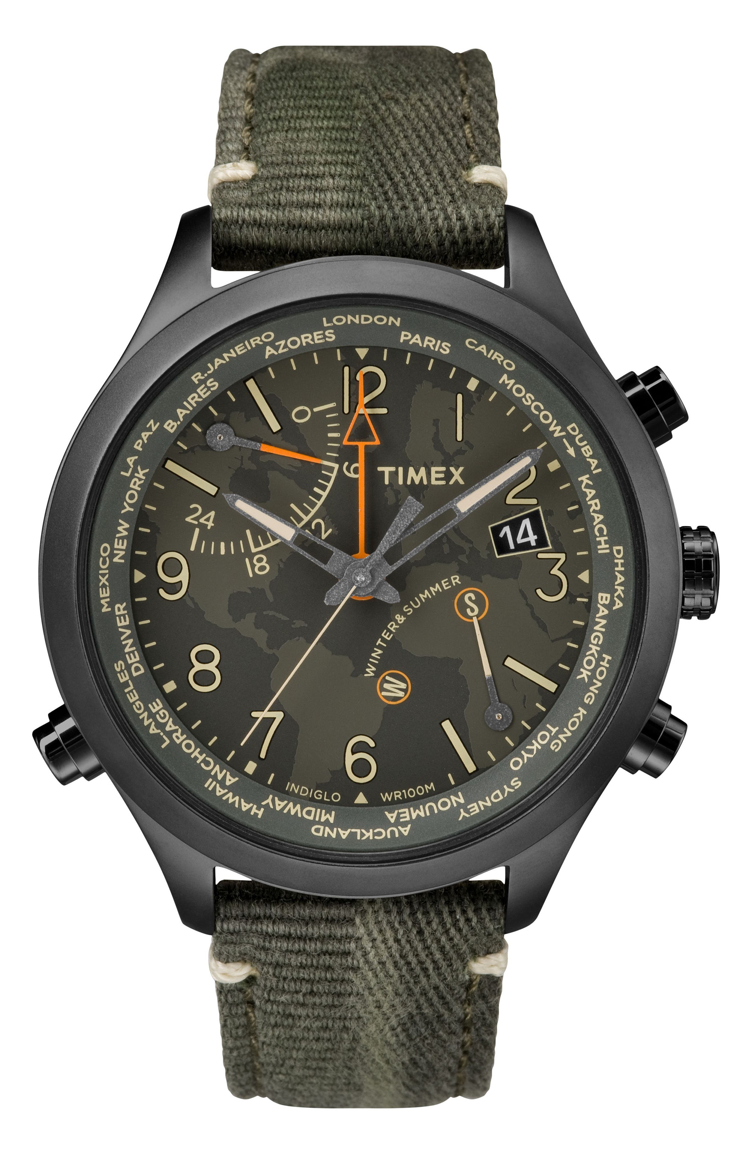 Waterbury Canvas Strap Watch, 43mm,                         Main,                         color, Olive/ Black