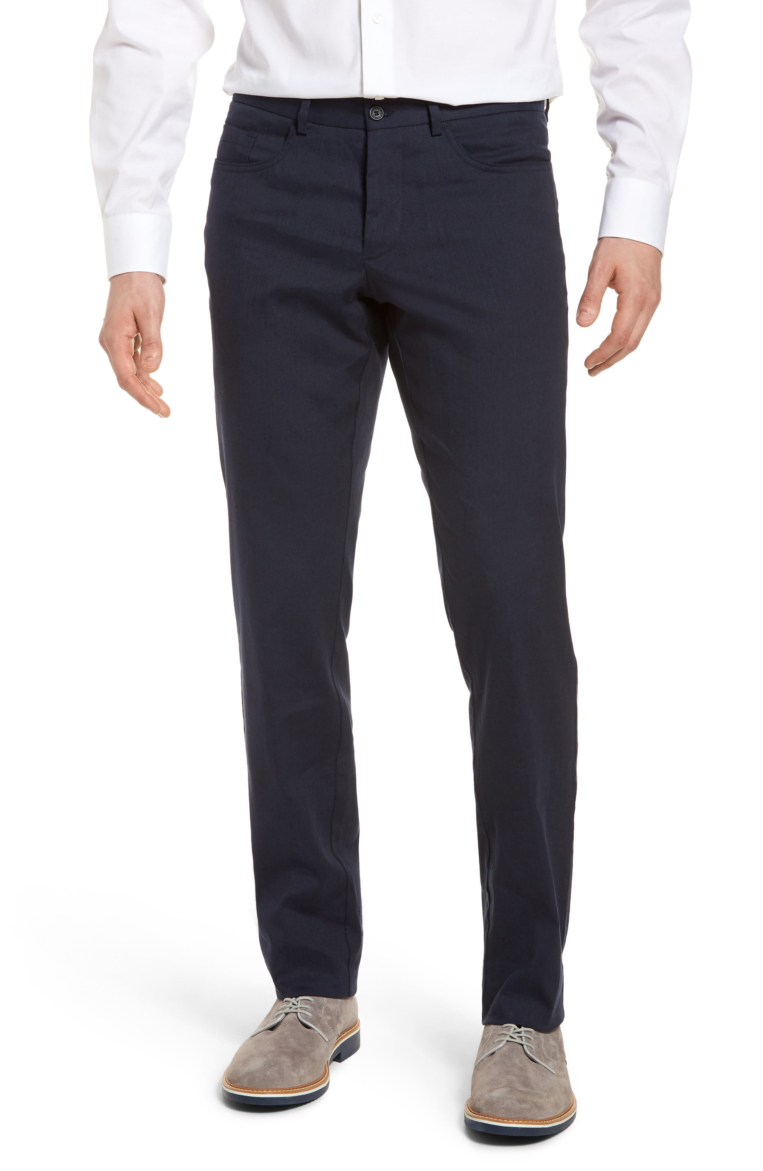 Flat Front Stretch Linen & Cotton Trousers,                             Main thumbnail 1, color,                             Navy
