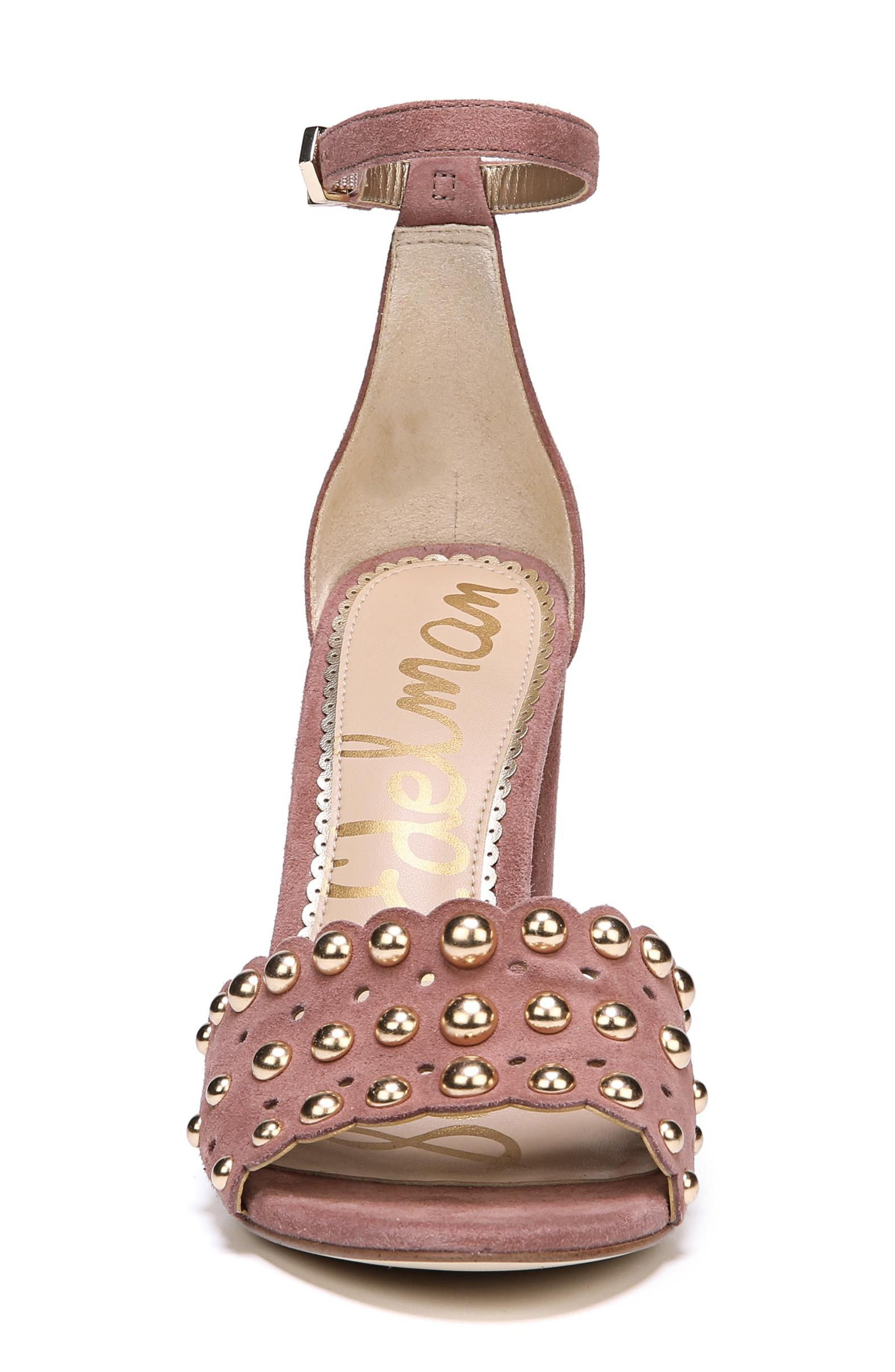 Yaria Studded Block Heel Sandal,                             Alternate thumbnail 4, color,                             Dusty Rose Suede