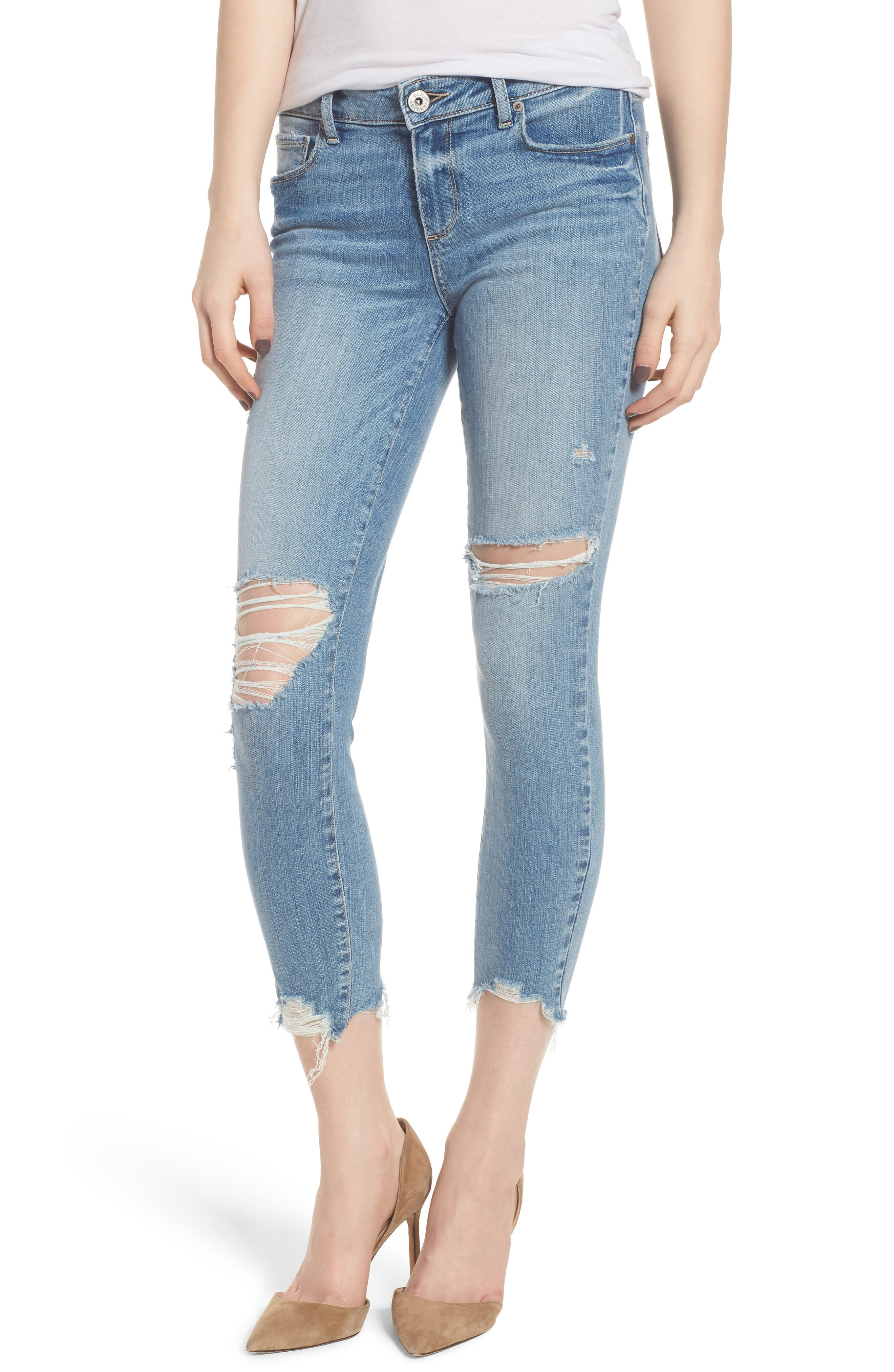 Main Image - PAIGE Verdugo Ripped Crop Ultra Skinny Jeans (Janis Destructed)