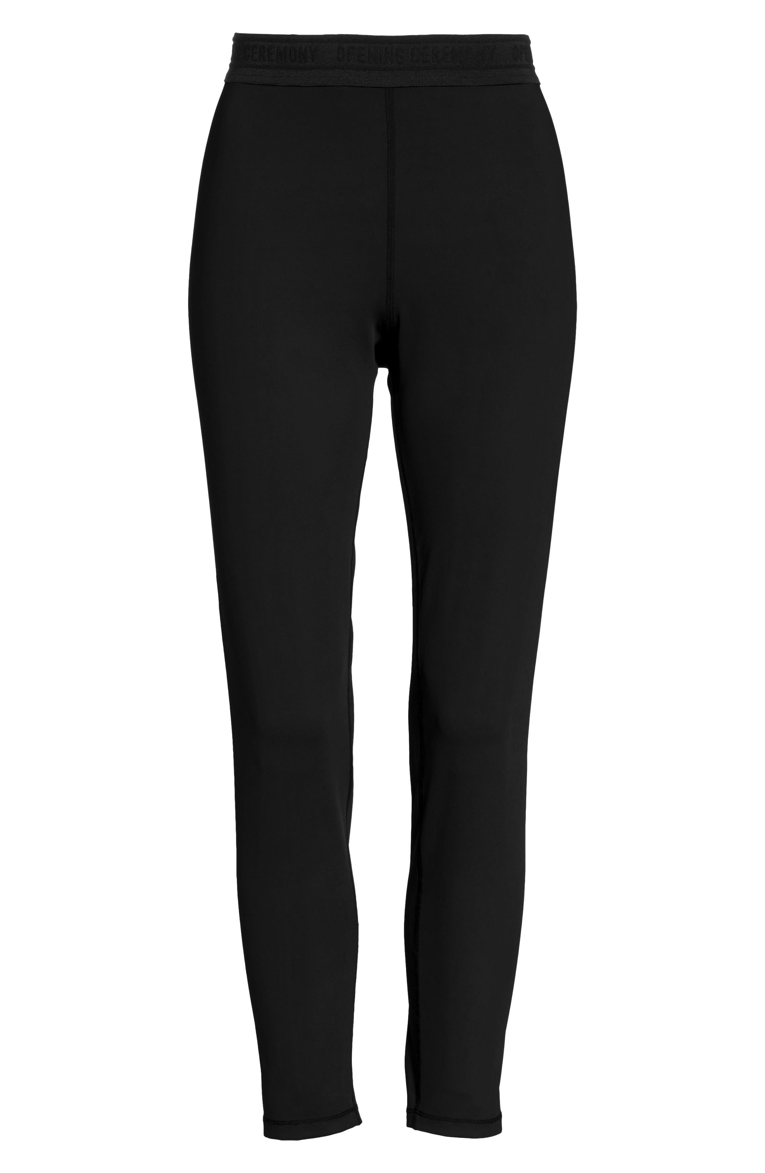 Split Back Leggings,                             Alternate thumbnail 6, color,                             Black