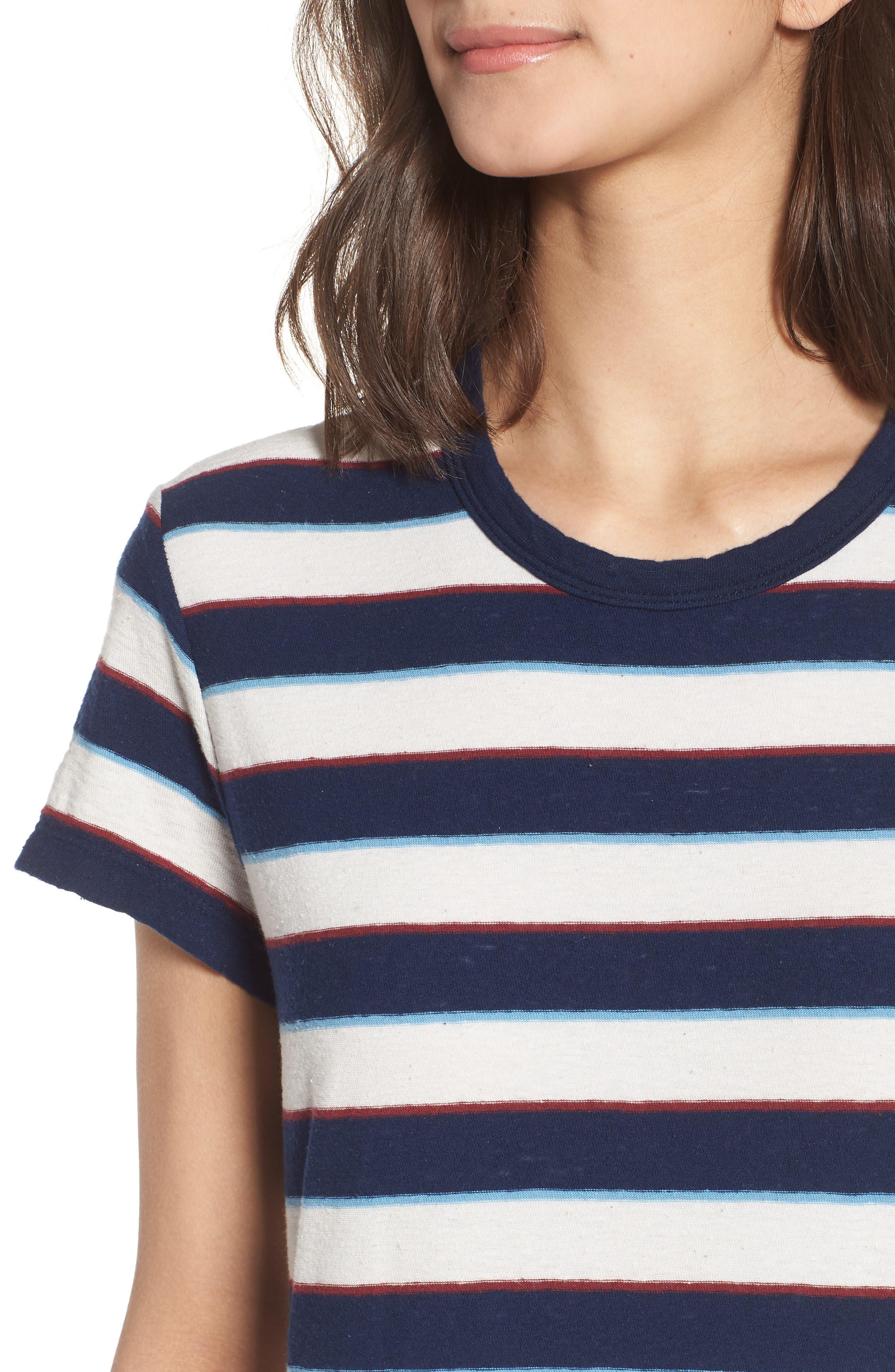 Vintage Stripe T-Shirt Dress,                             Alternate thumbnail 4, color,                             Navy Stripe