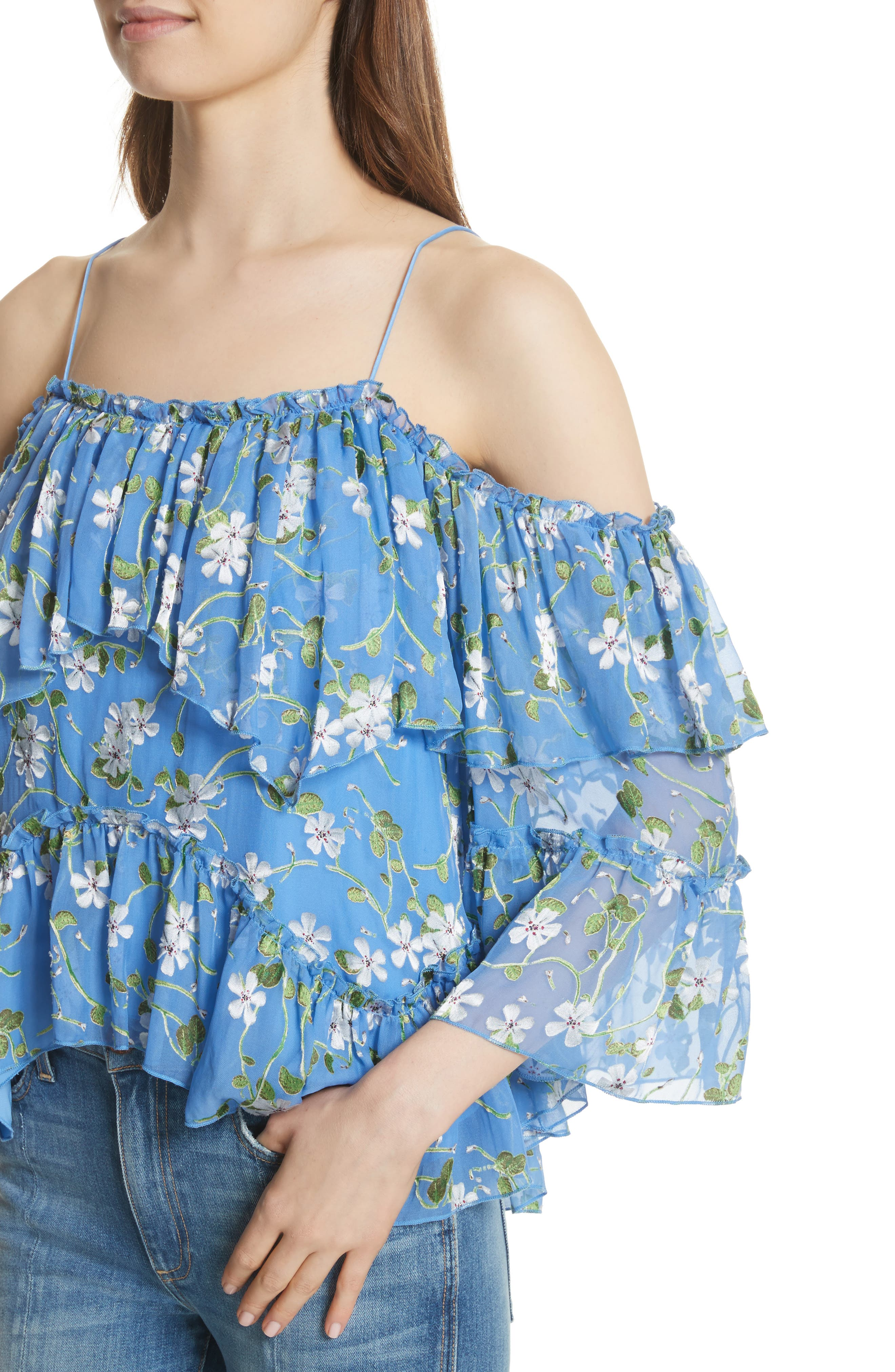 Tia Ruffle Floral Print Blouse,                             Alternate thumbnail 4, color,                             Spring Primrose-Cerulean