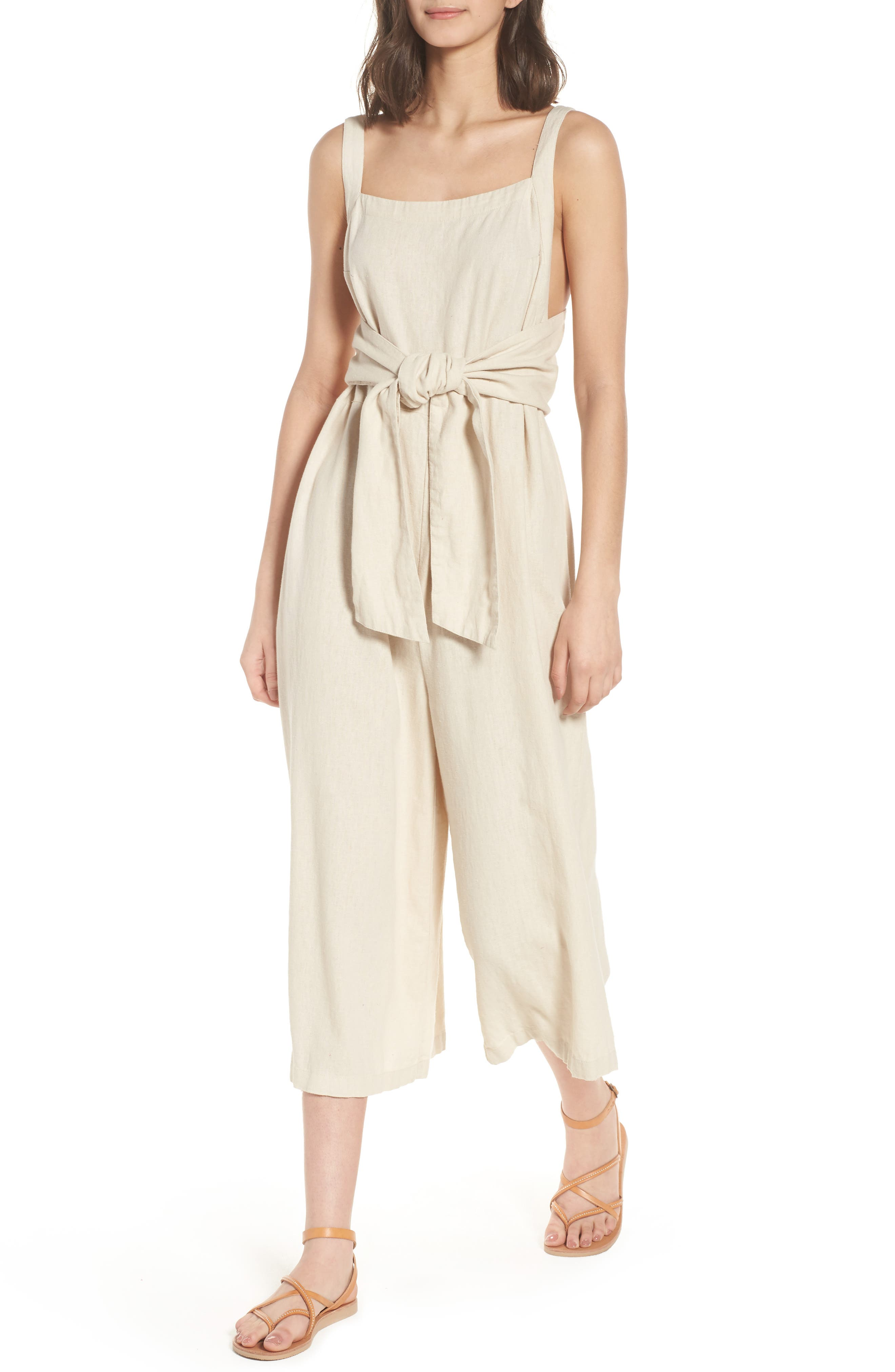 Linen Blend Tie Front Crop Jumpsuit, Main, color, Beige Beach