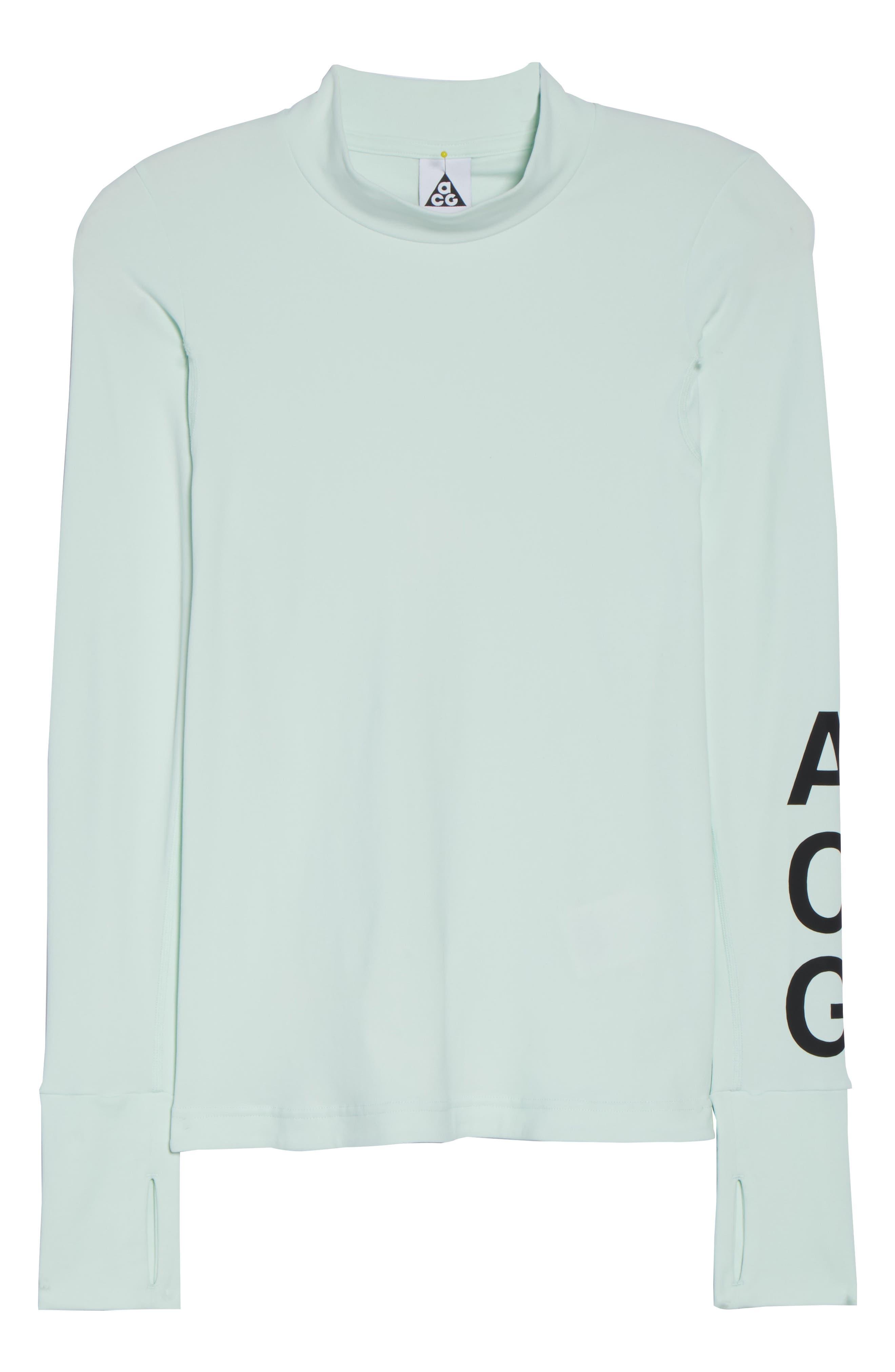 NikeLab ACG Long Sleeve Women's Top,                             Alternate thumbnail 7, color,                             Barely Green/ Black