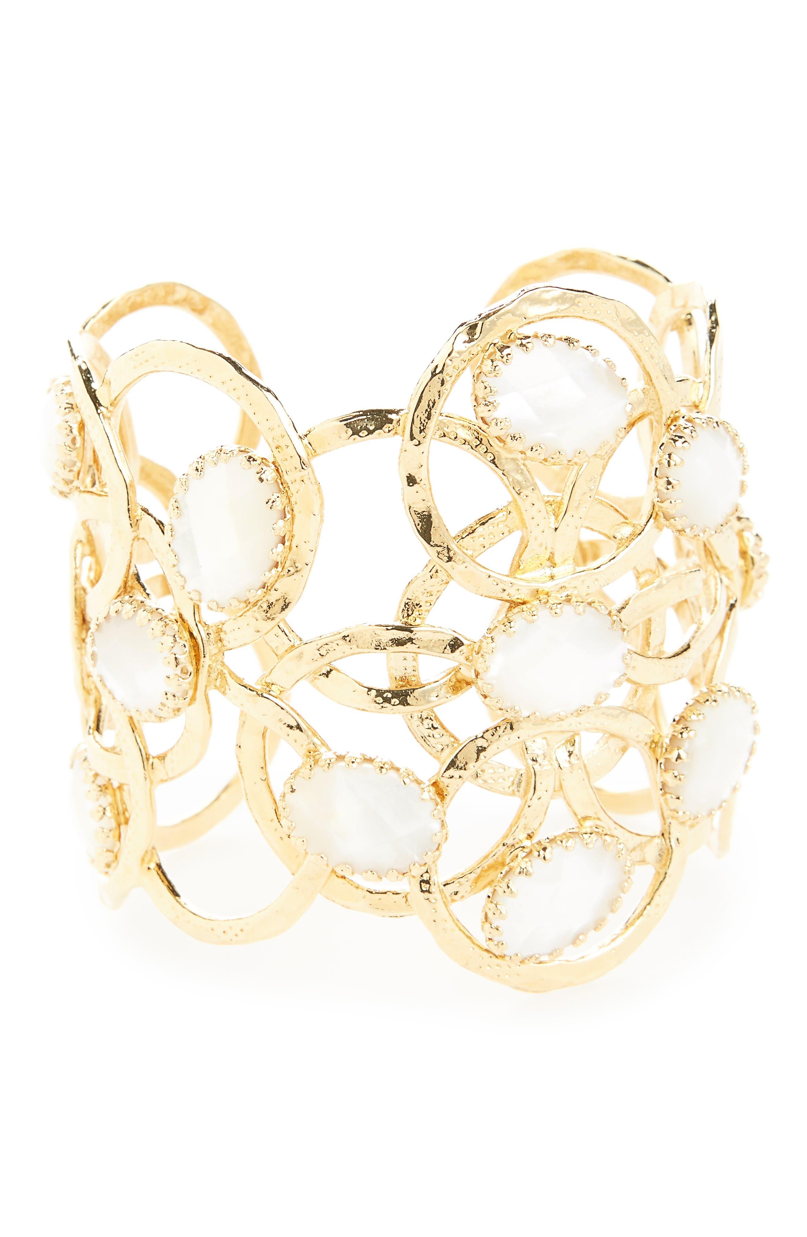 Olympie Cuff Bracelet,                         Main,                         color, White