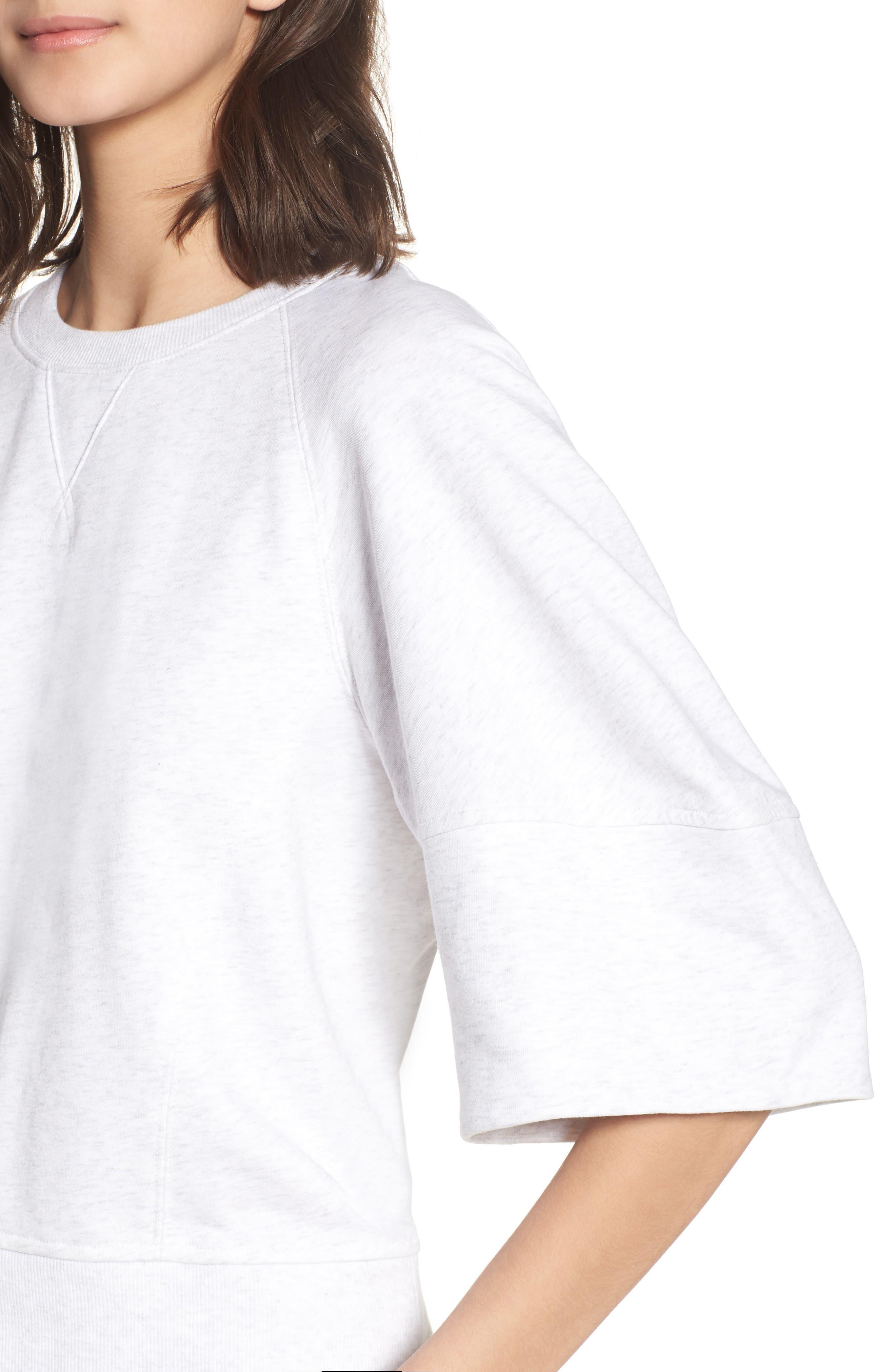 Puff Sleeve Sweatshirt,                             Alternate thumbnail 4, color,                             Heather Grey