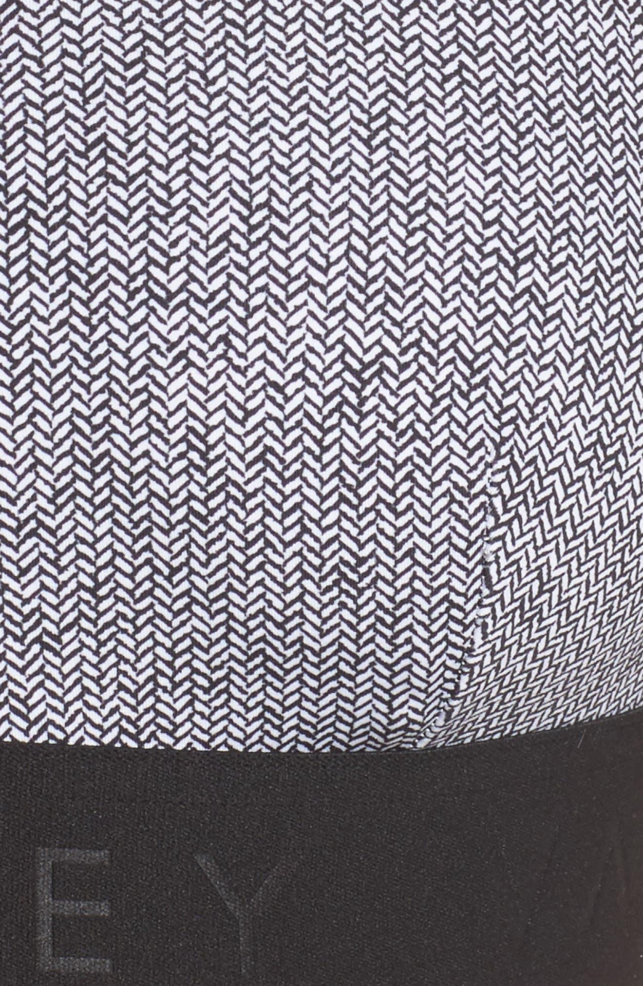 Gale Sports Bra,                             Alternate thumbnail 4, color,                             Black/ White Herringbone Print