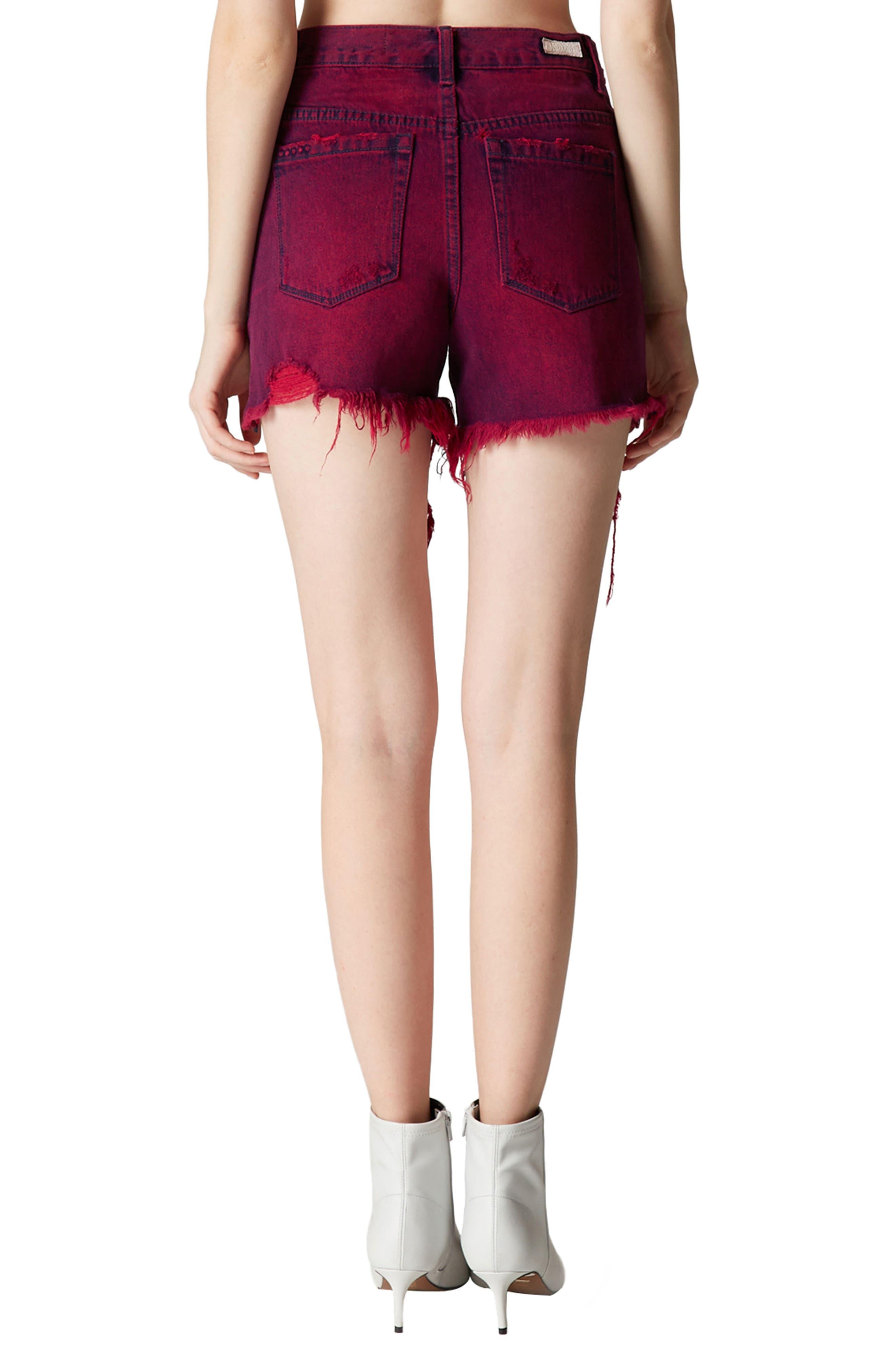 Shredded Cutoff Denim Shorts,                             Alternate thumbnail 3, color,                             Magenta