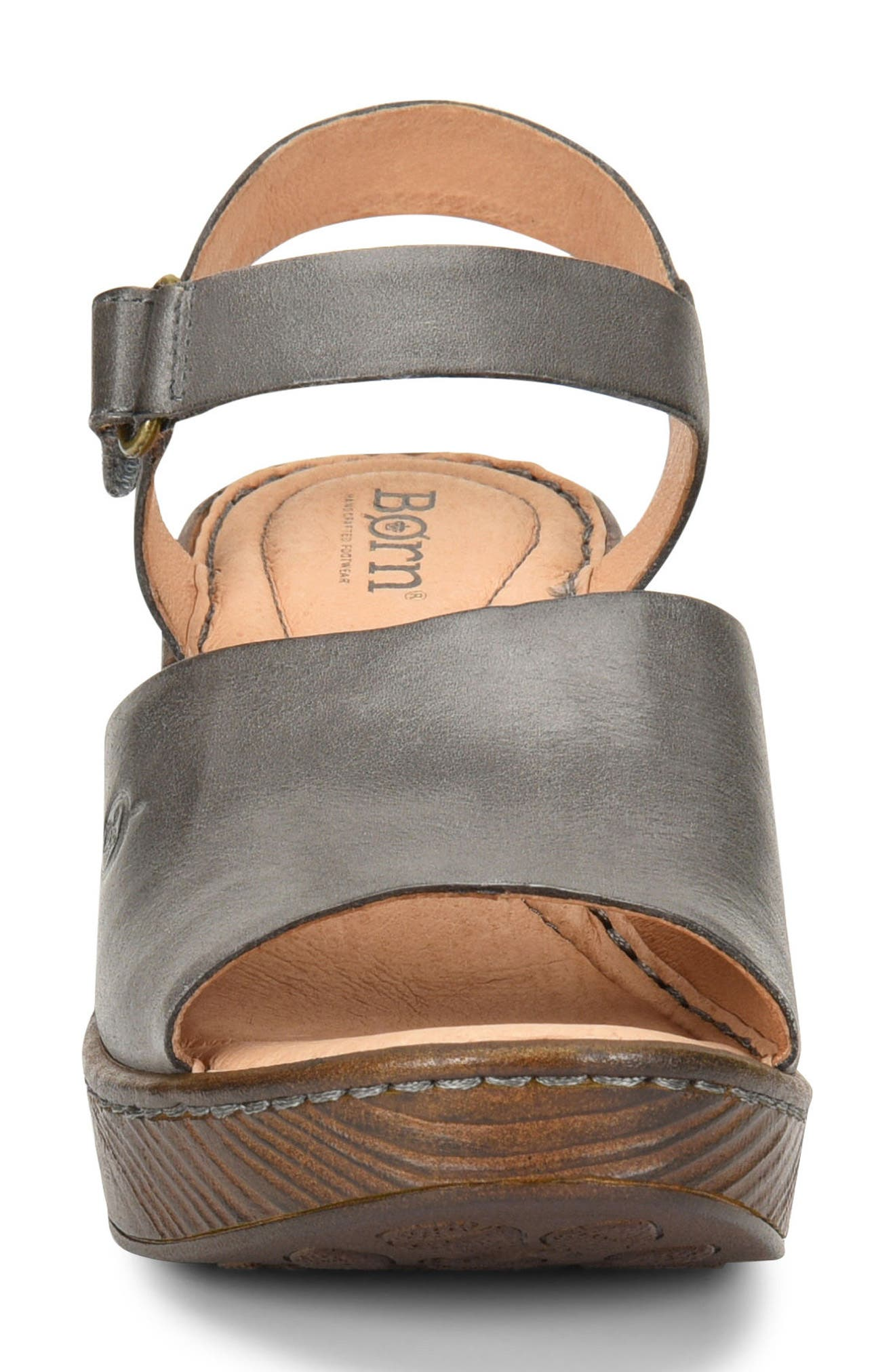 Canna Platform Sandal,                             Alternate thumbnail 4, color,                             Grey Leather