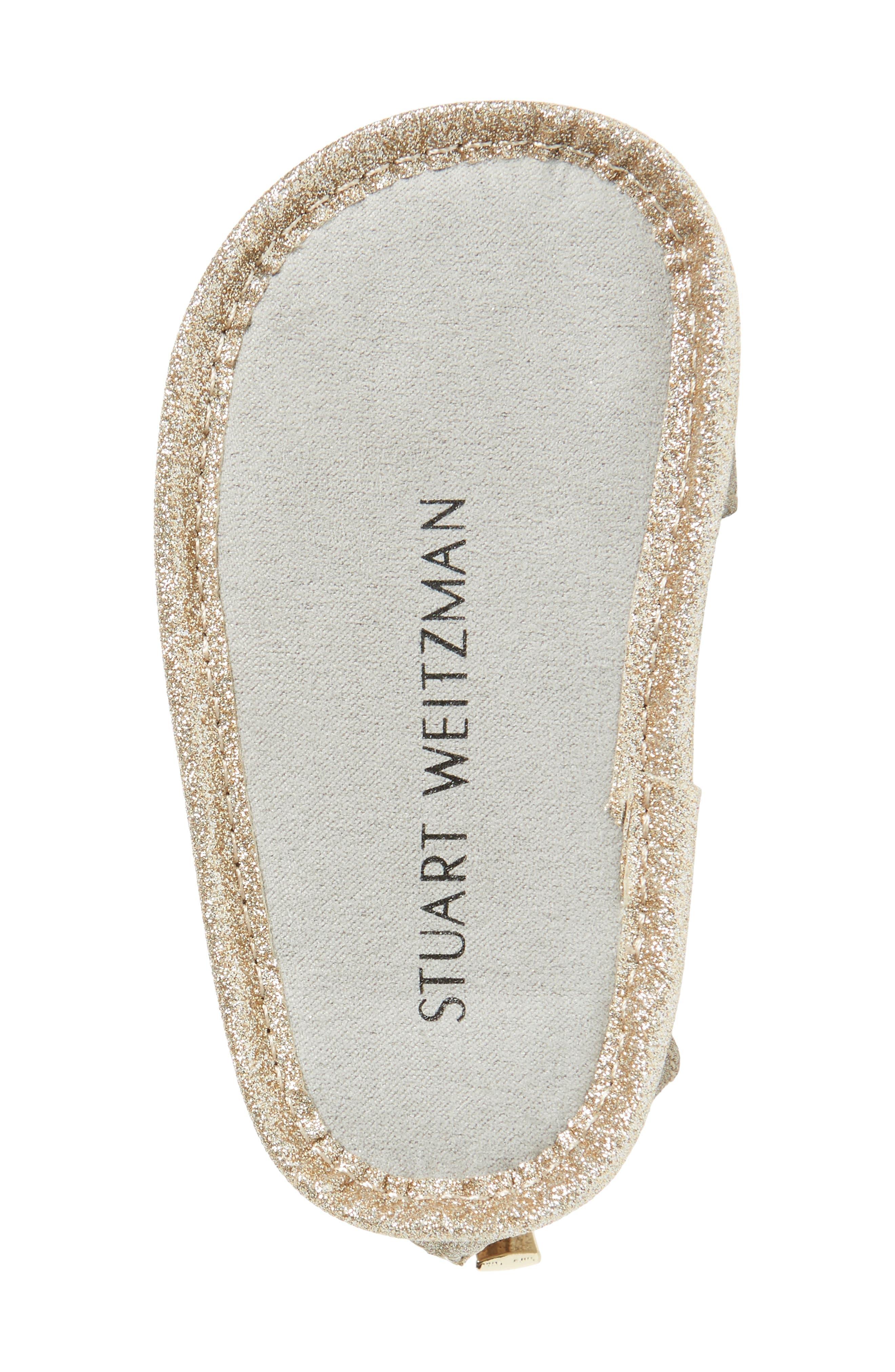 Selina Glitter Crib Shoe Sandal,                             Alternate thumbnail 6, color,                             Gold/ Silver