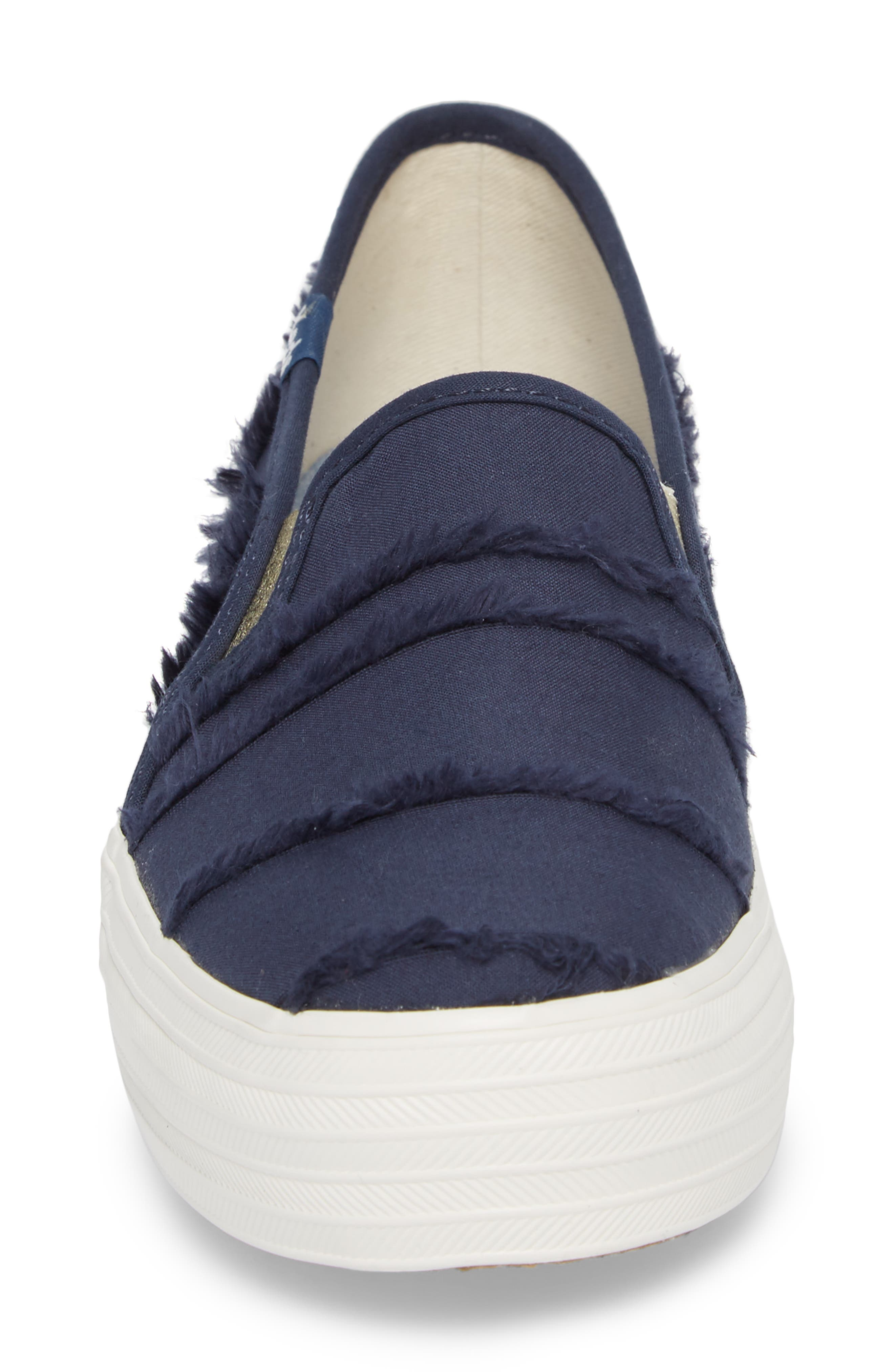 Triple Decker Eyelash Fringe Slip-On Sneaker,                             Alternate thumbnail 4, color,                             Indigo