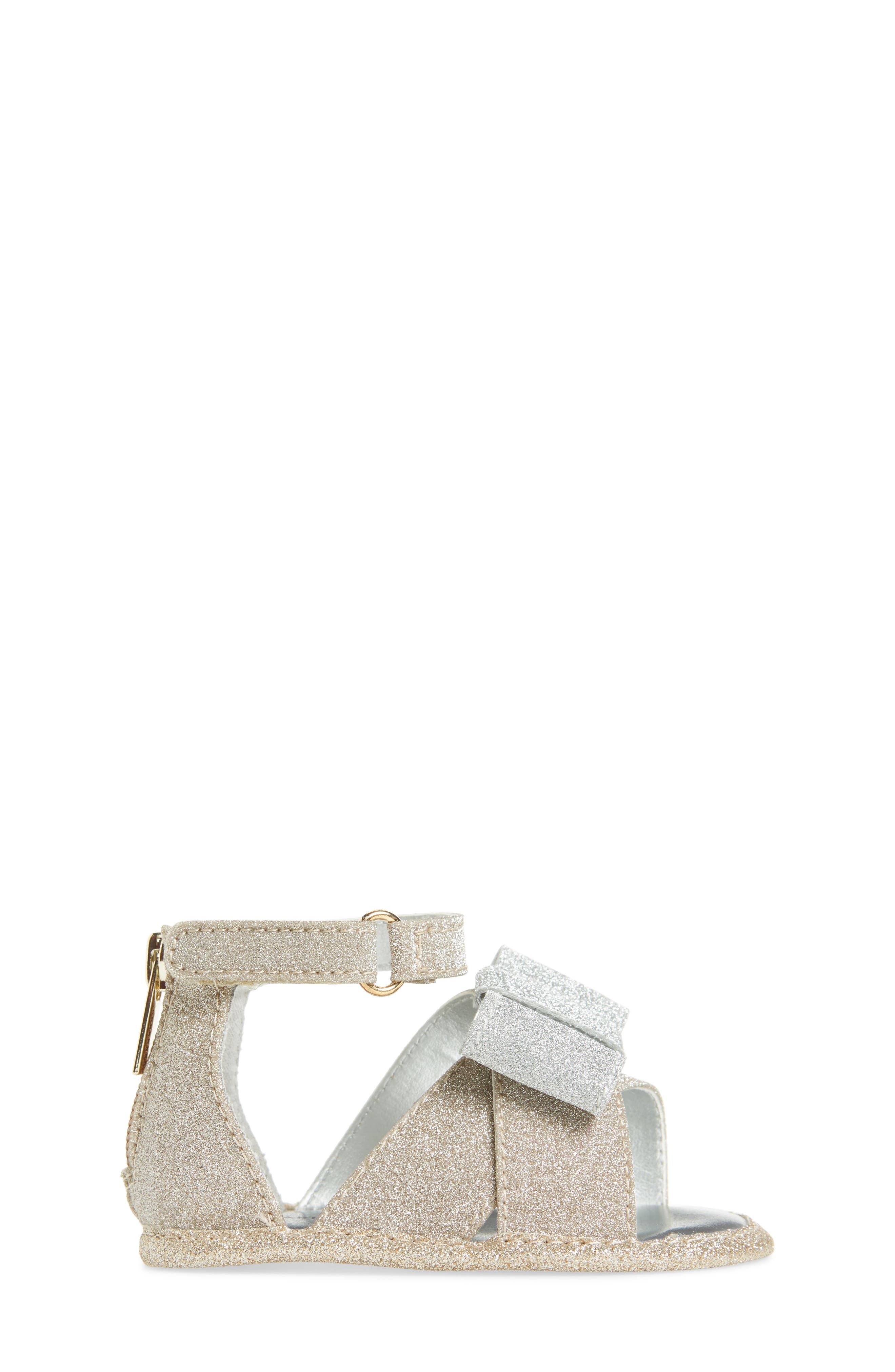 Selina Glitter Crib Shoe Sandal,                             Alternate thumbnail 3, color,                             Gold/ Silver