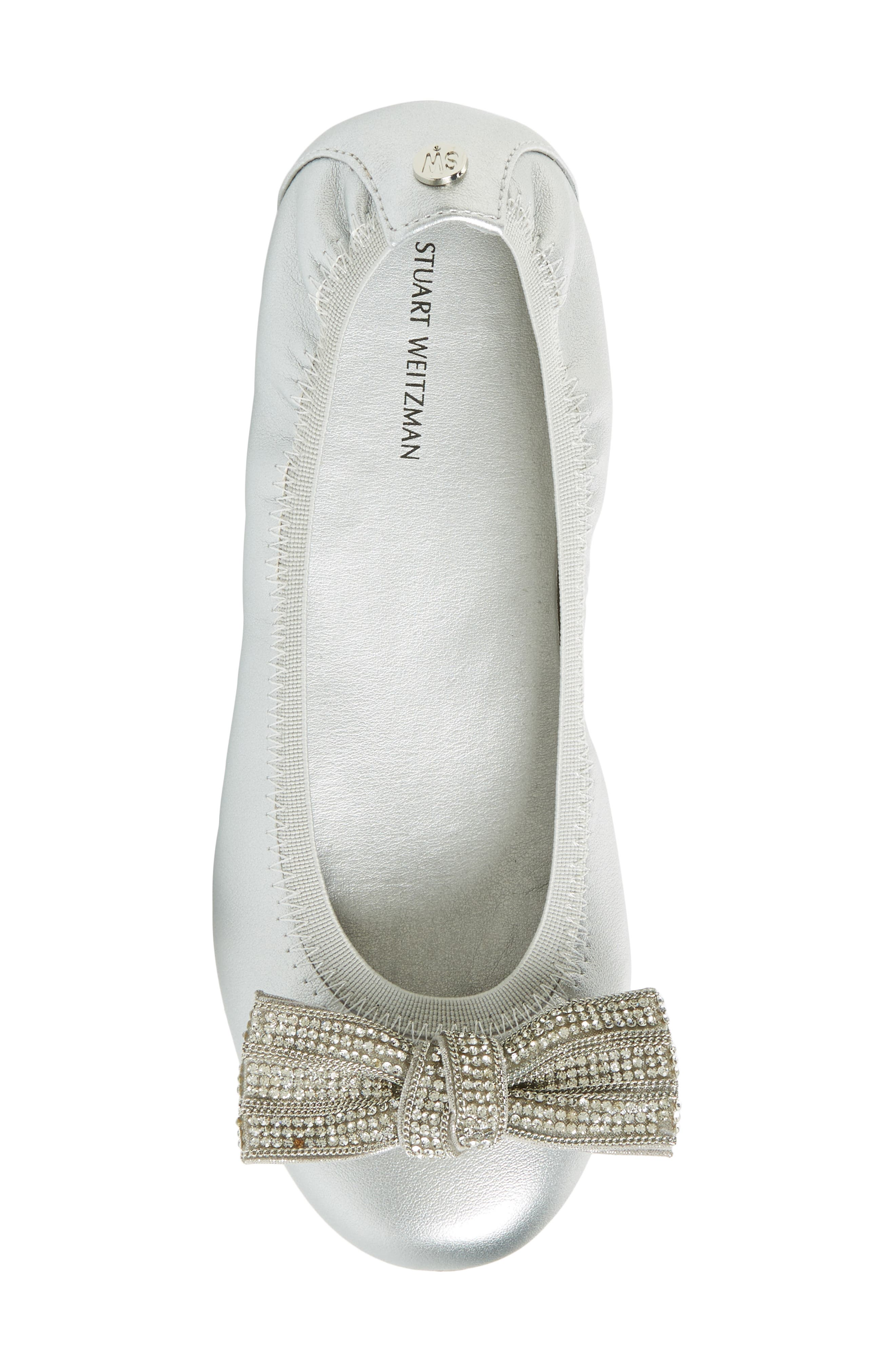 Fannie Embellished Bow Ballet Flat,                             Alternate thumbnail 5, color,                             Silver