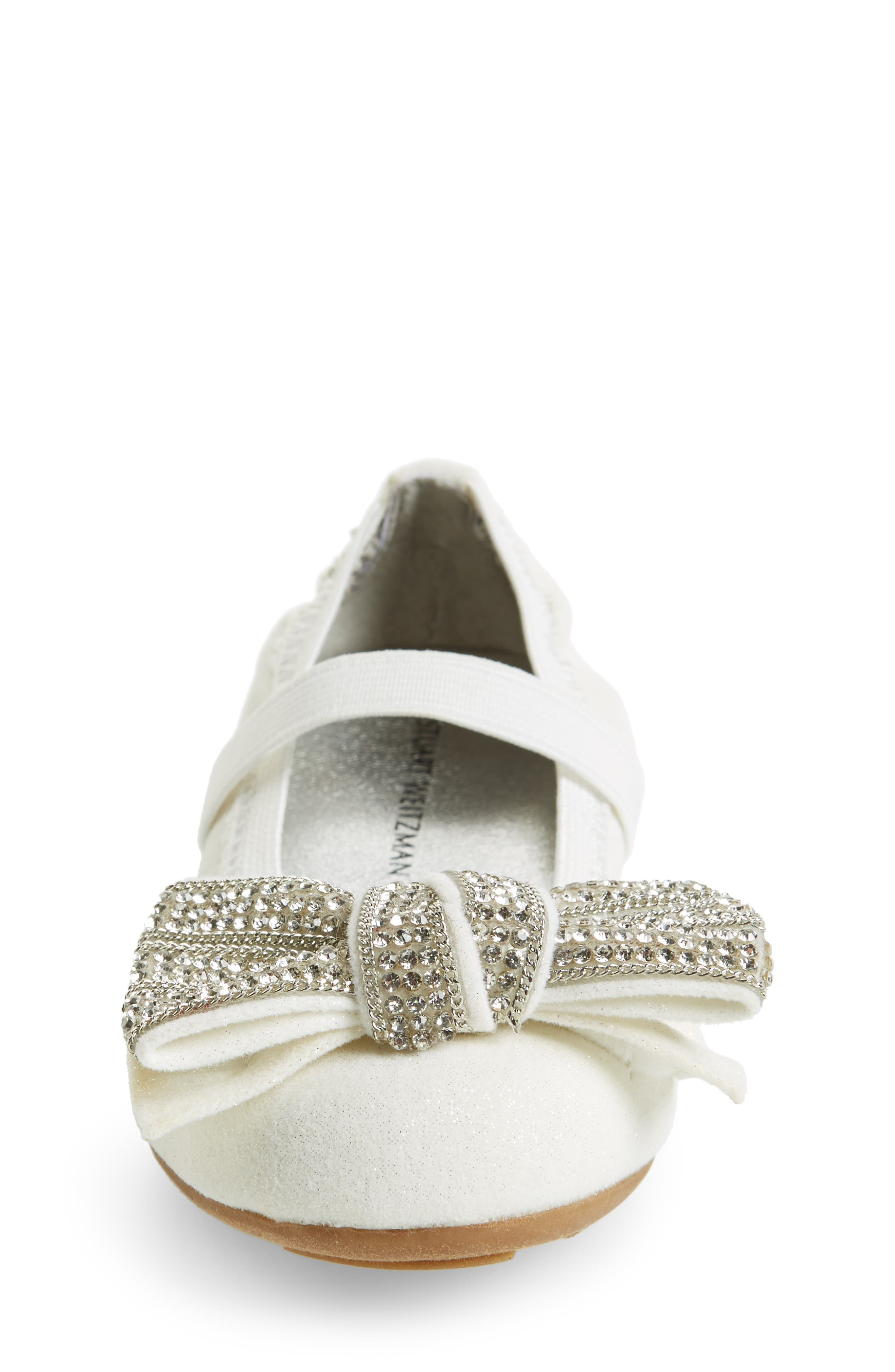 Fannie Embellished Bow Mary Jane Flat,                             Alternate thumbnail 4, color,                             White