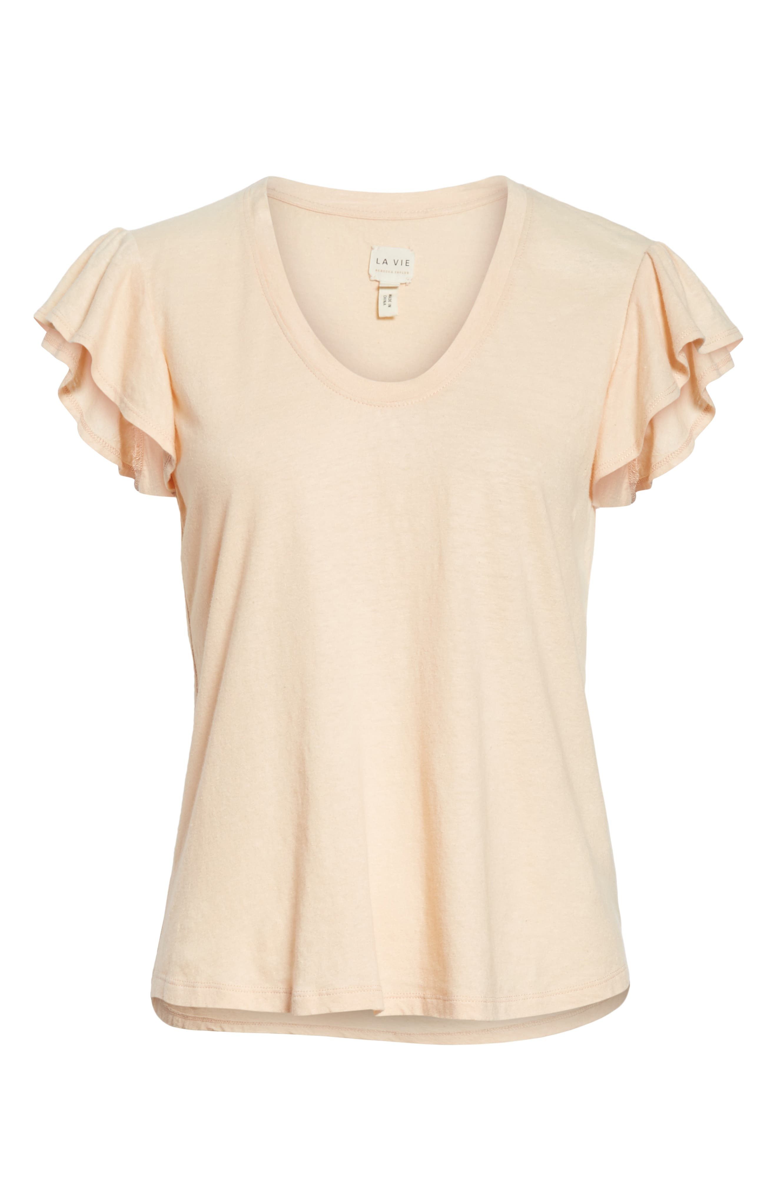 Linen & Cotton Ruffle Sleeve Tee,                             Alternate thumbnail 6, color,                             Rose Cloud