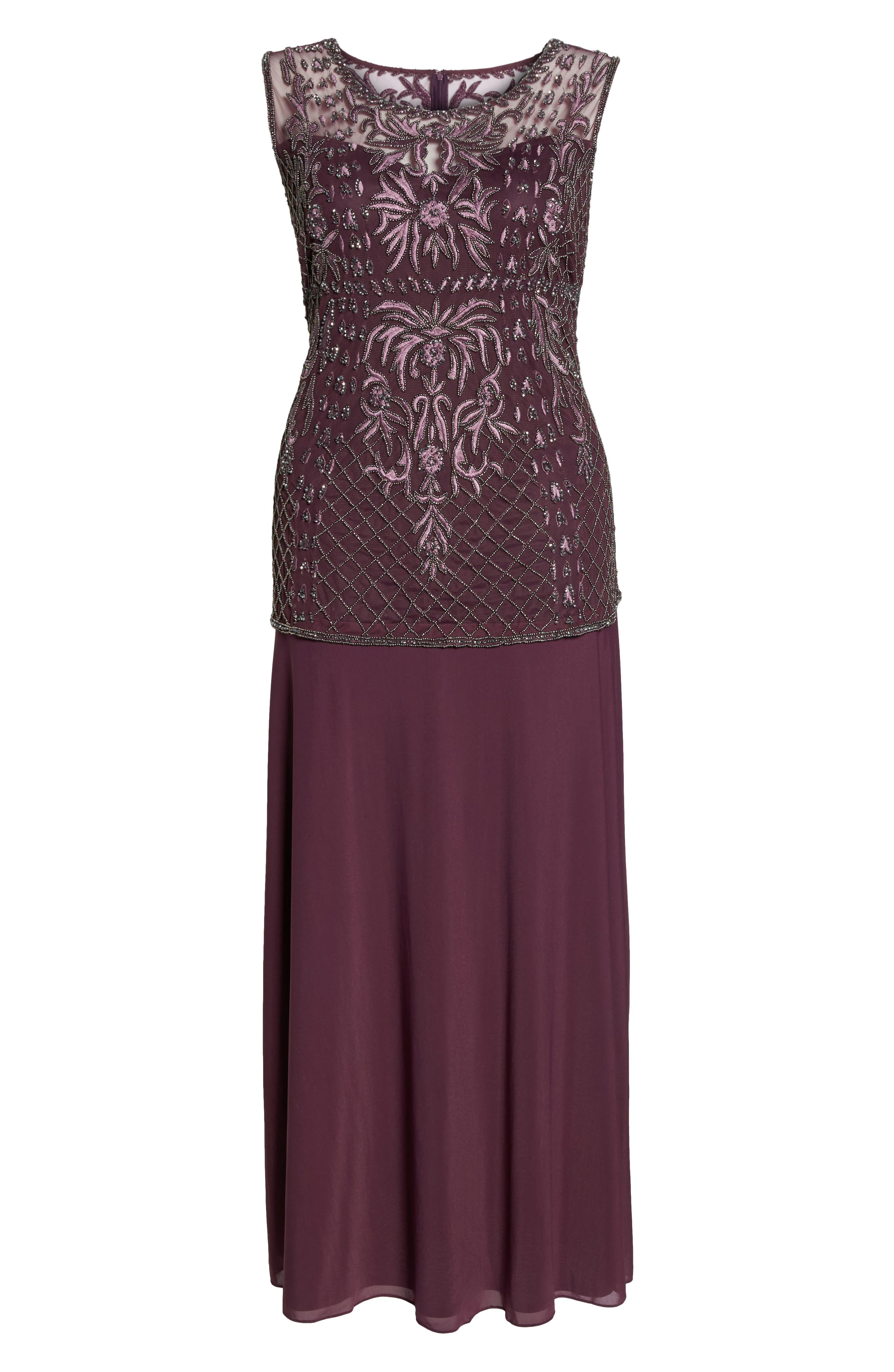 Embellished Gown,                             Alternate thumbnail 6, color,                             Plum