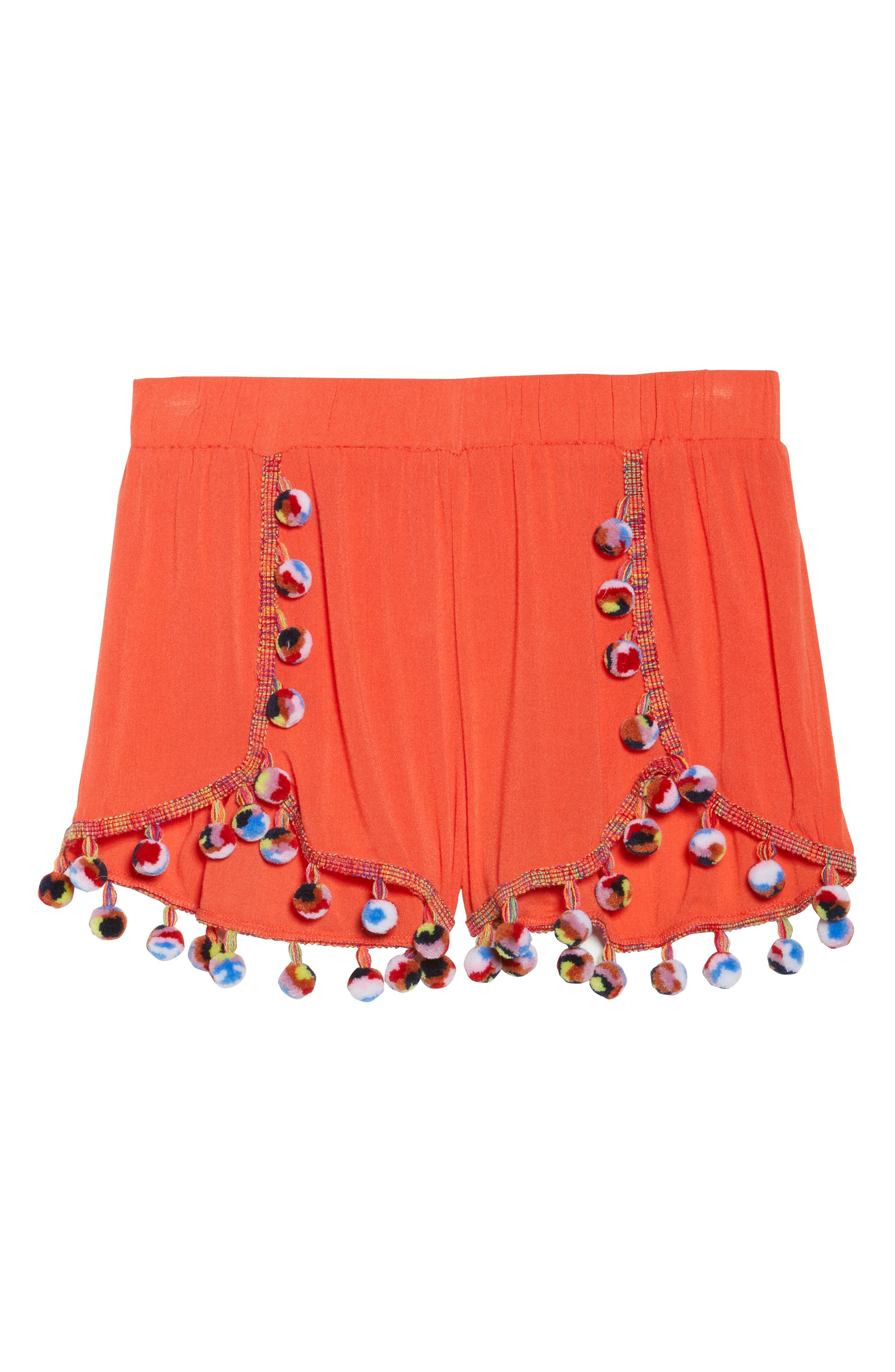 Red Fruit Punch Pompom Cover-Up Shorts,                             Alternate thumbnail 6, color,                             Red
