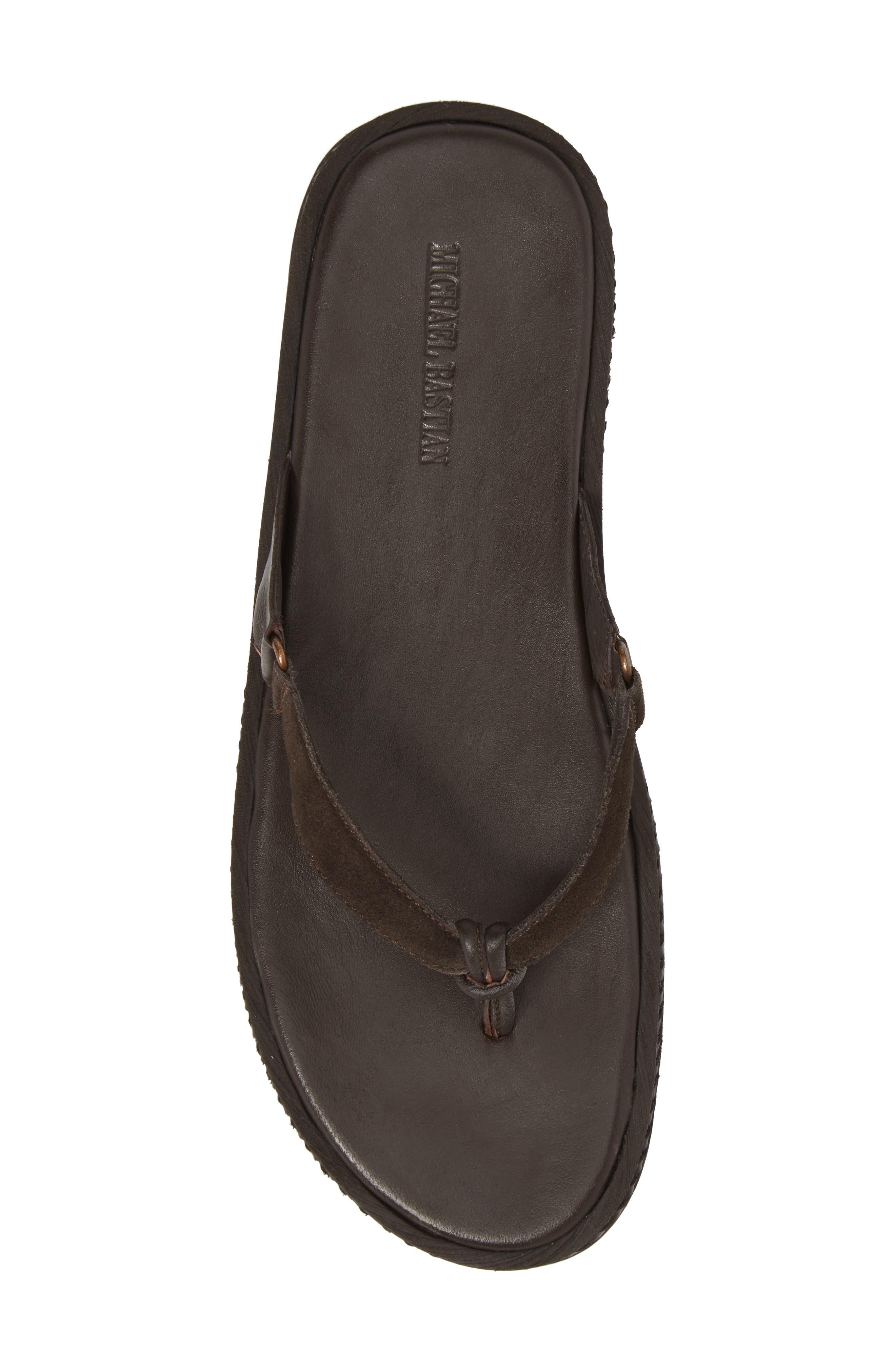 Michael Bastain Flip Flop,                             Alternate thumbnail 5, color,                             Brown Leather