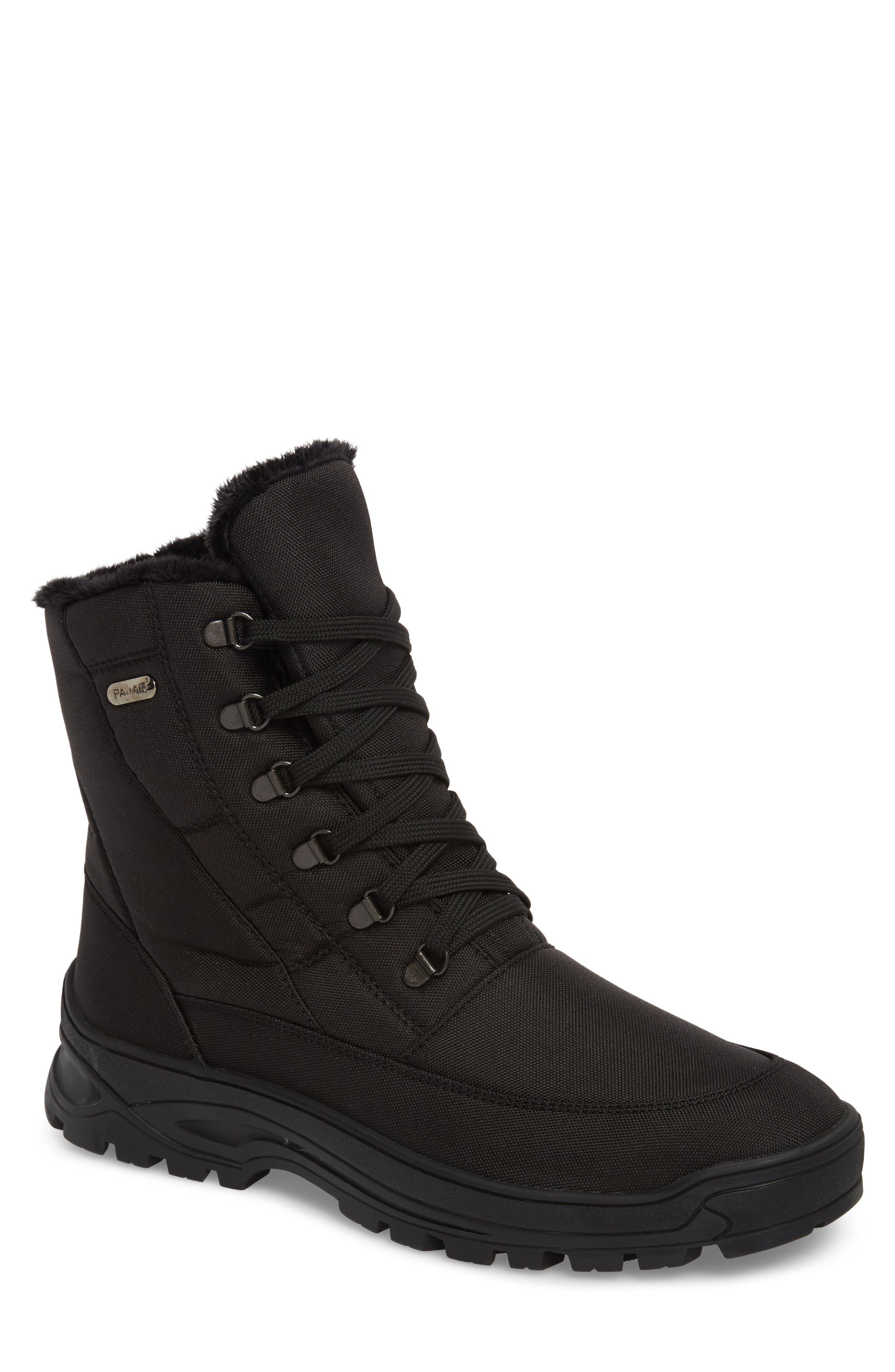 Eric Waterproof Boot,                         Main,                         color, Black Fabric