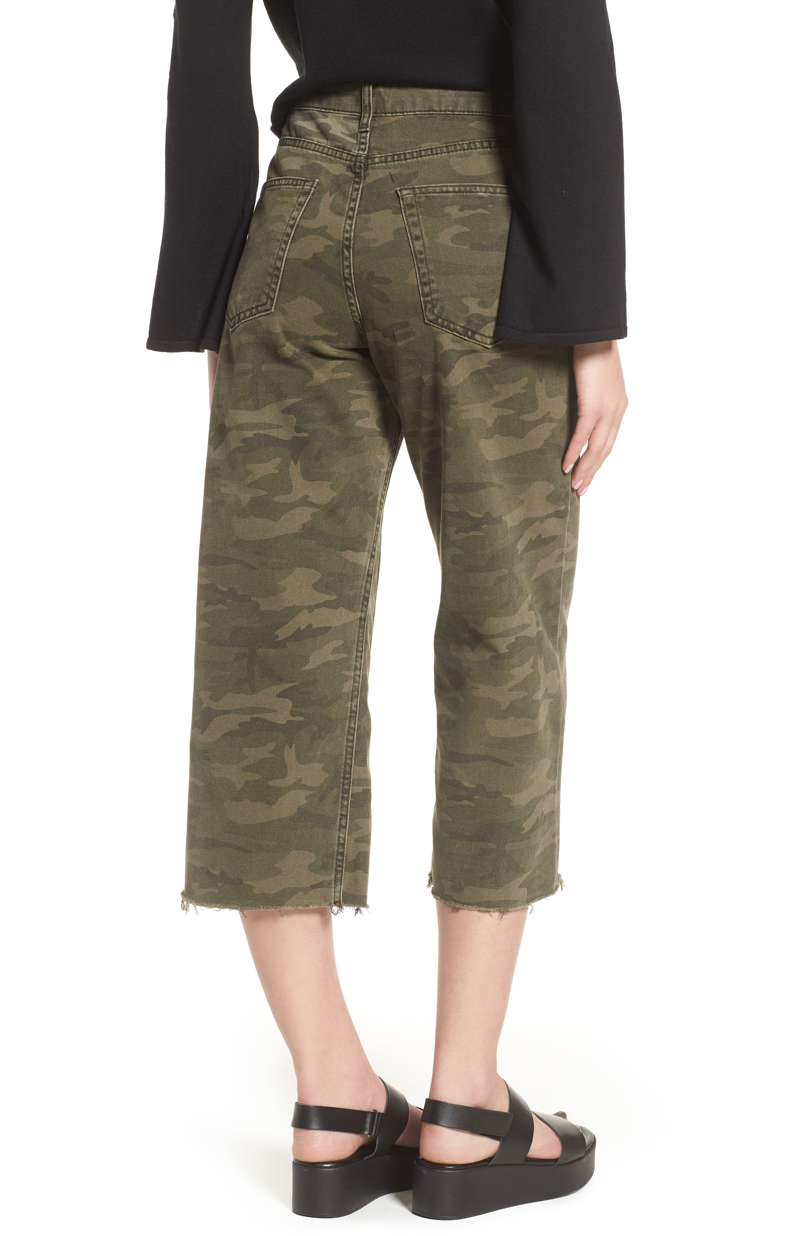Camo Wide Leg Trousers,                             Alternate thumbnail 2, color,                             Olive