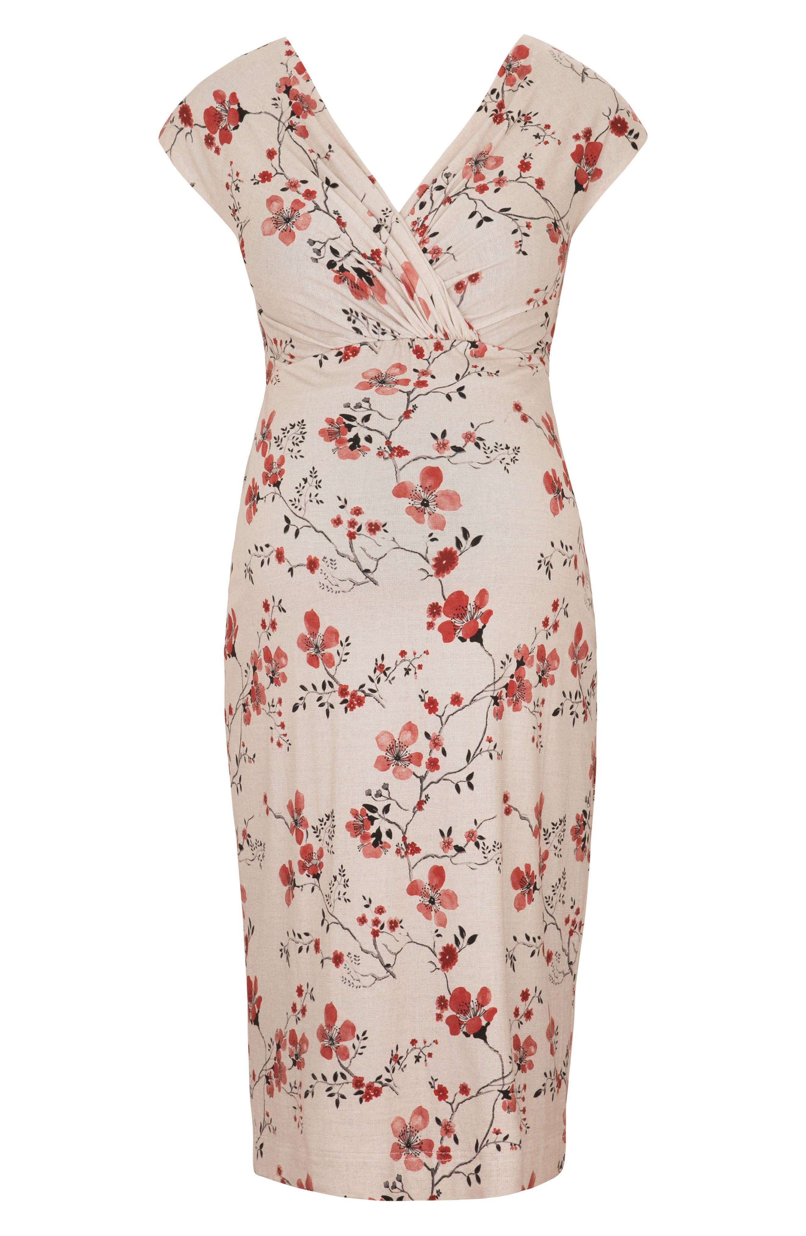 Bardot Maternity Sheath Dress,                             Alternate thumbnail 4, color,                             Cherry Blossom