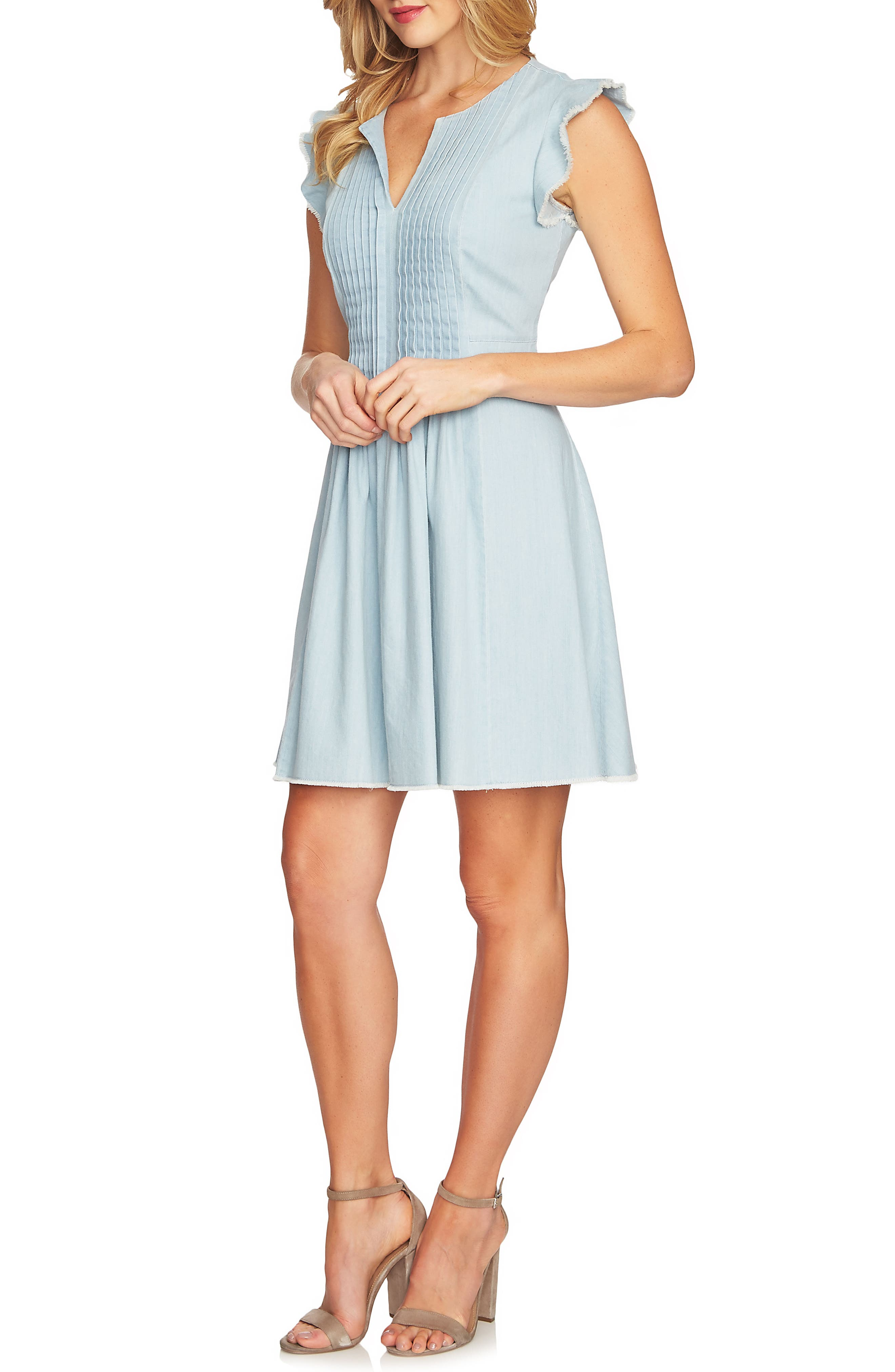 Pintuck Cotton Denim Fit and Flare Dress,                             Main thumbnail 1, color,                             Ocean Drift