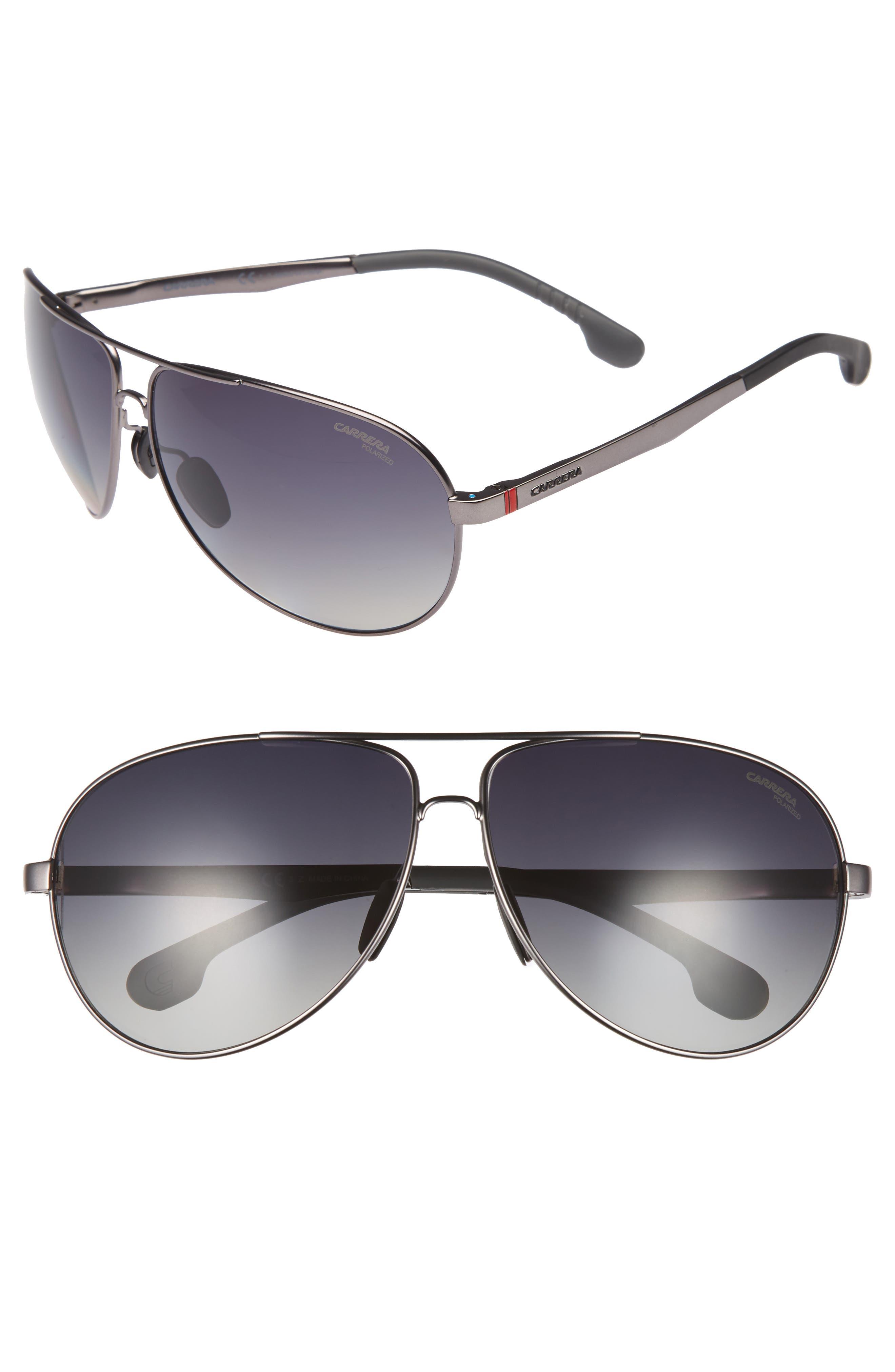66mm Polarized Sunglasses,                         Main,                         color, Matte Dark Ruthenium