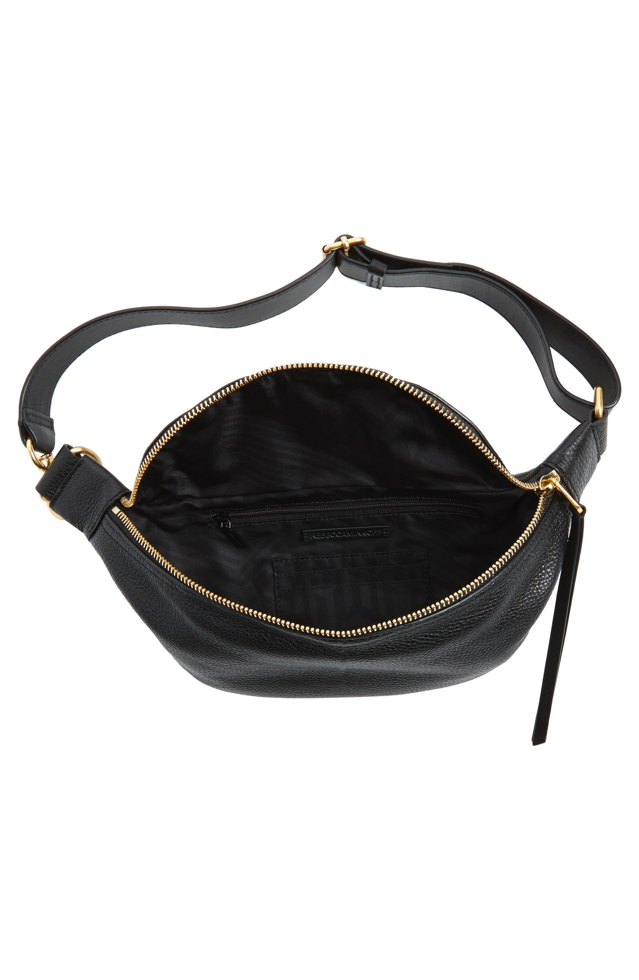 Bree Leather Belt Bag,                             Alternate thumbnail 5, color,                             Black