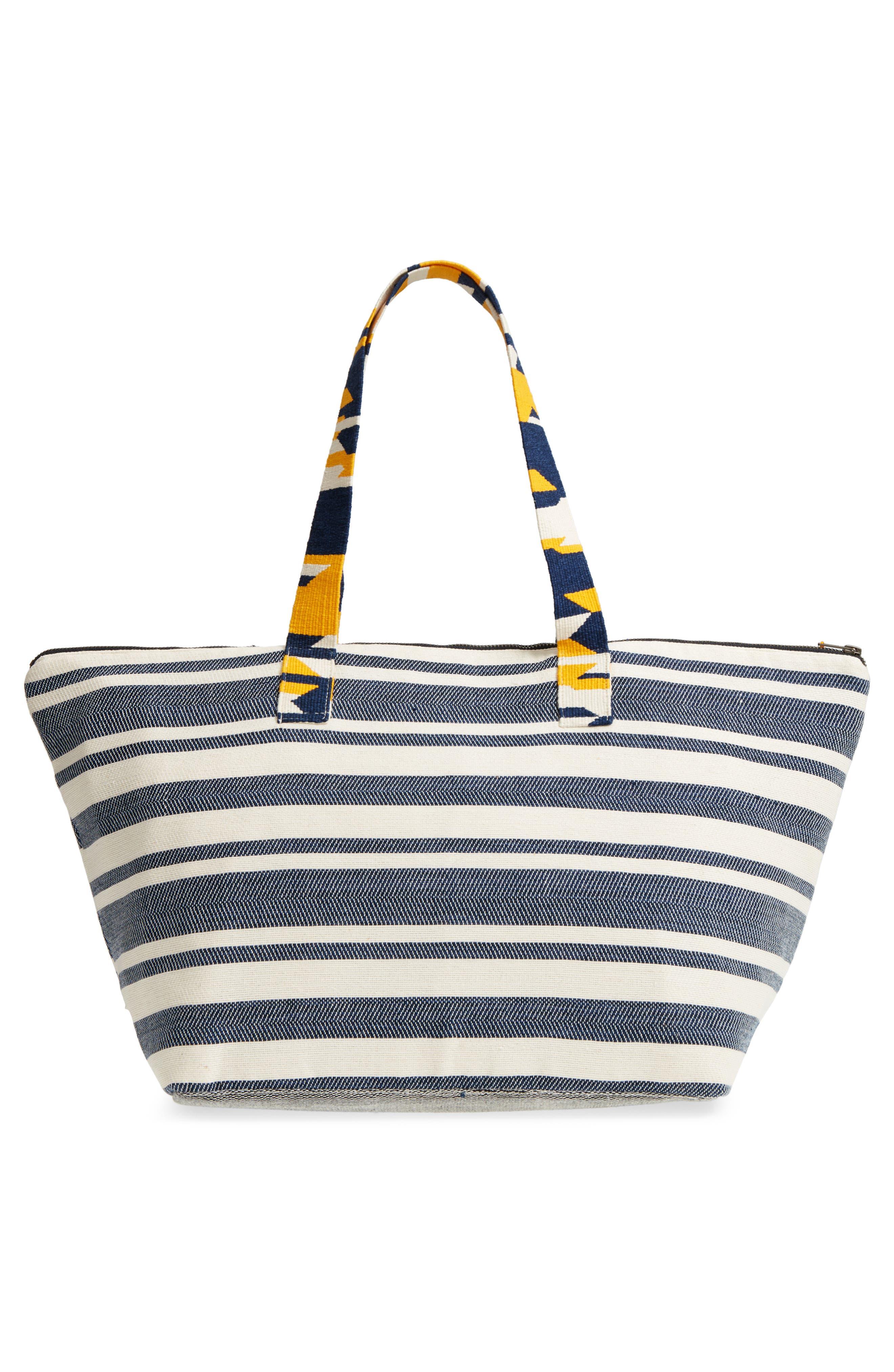 Iris Beach Bag,                             Alternate thumbnail 3, color,                             Sungold Denim Twill