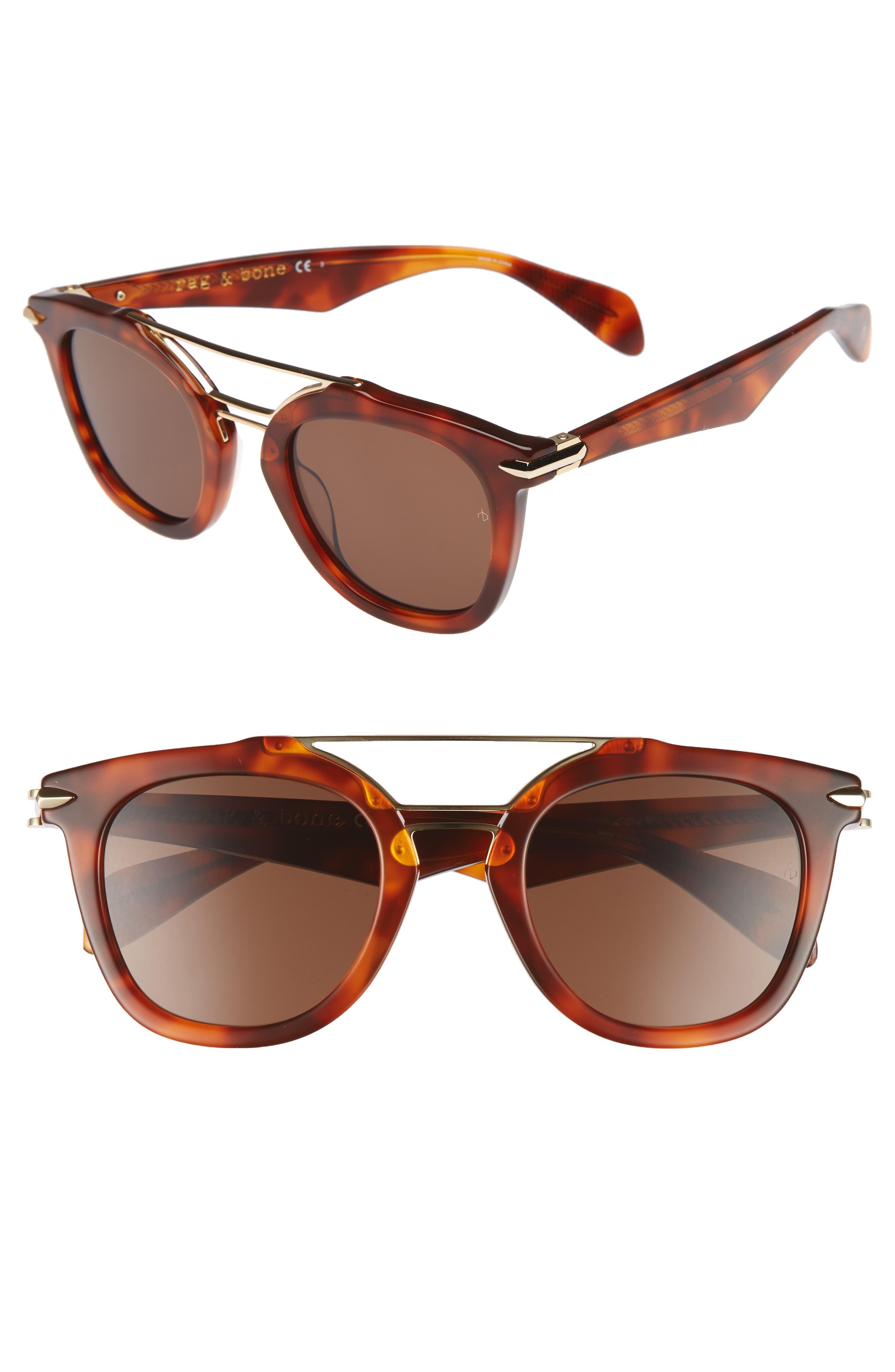 50mm Round Aviator Sunglasses,                             Main thumbnail 1, color,                             Havana Honey
