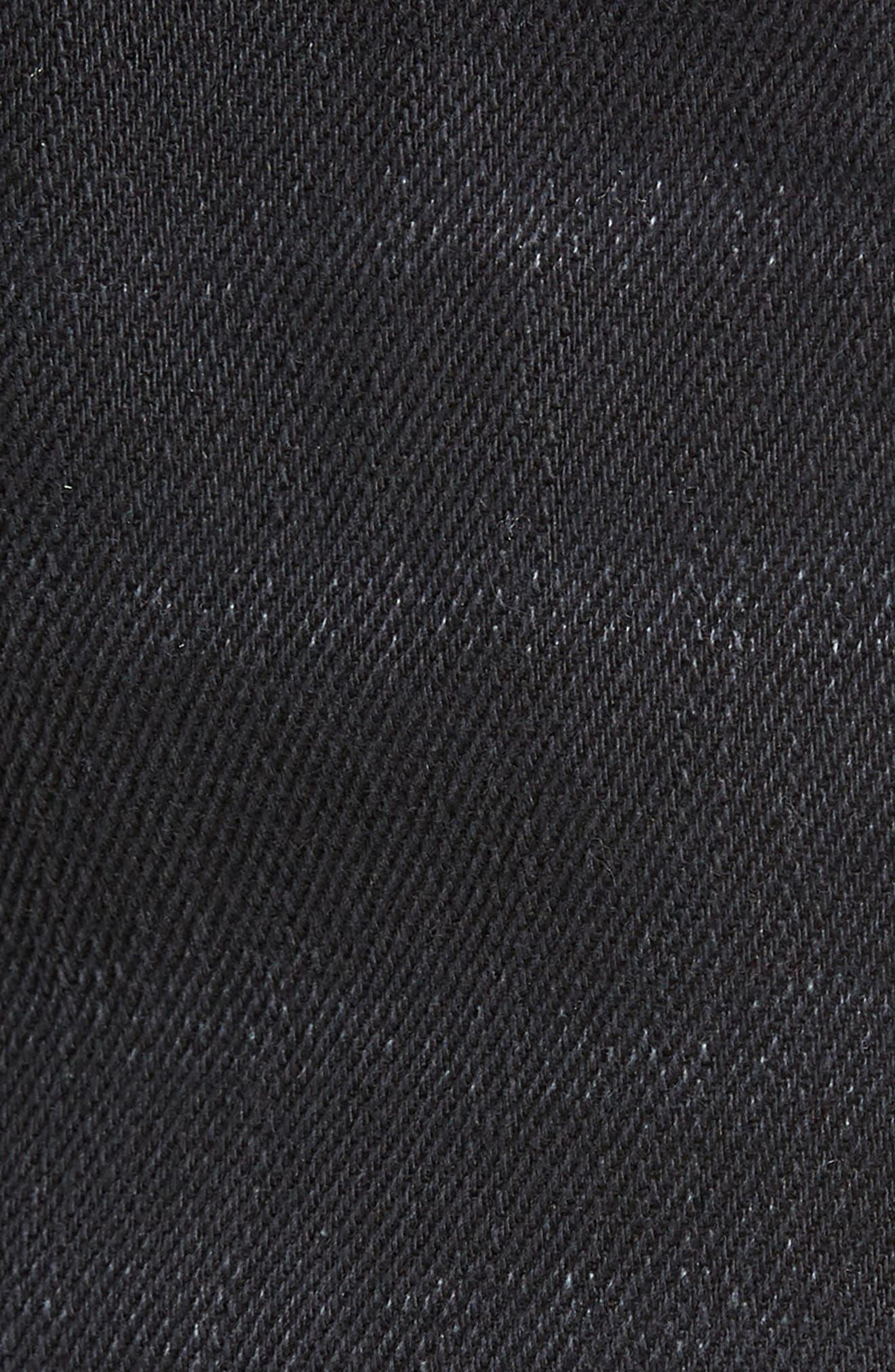 Fray Hem Denim Shorts,                             Alternate thumbnail 6, color,                             Black