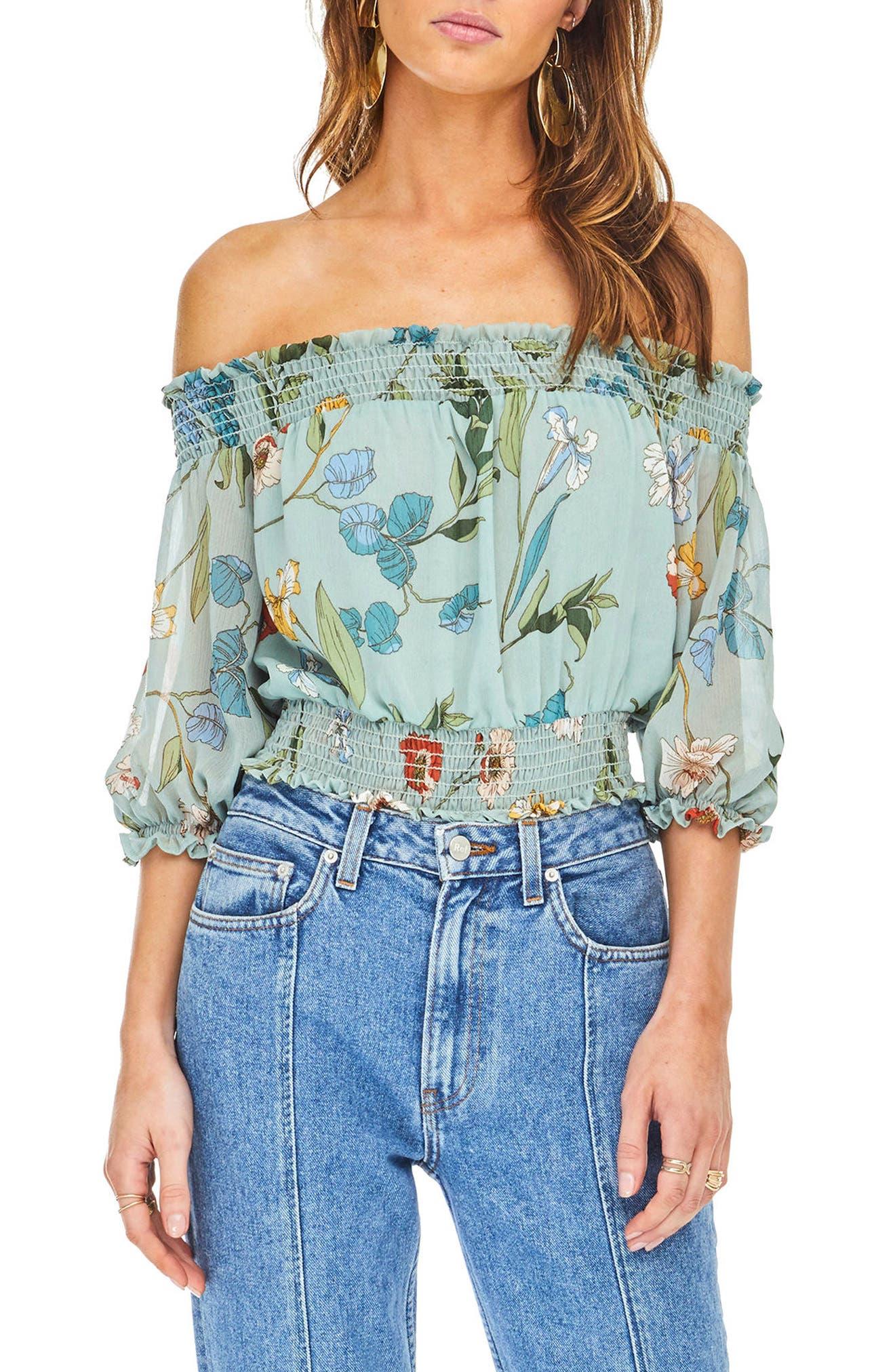 Lucy Off the Shoulder Bodysuit,                         Main,                         color, Sage Multi Floral