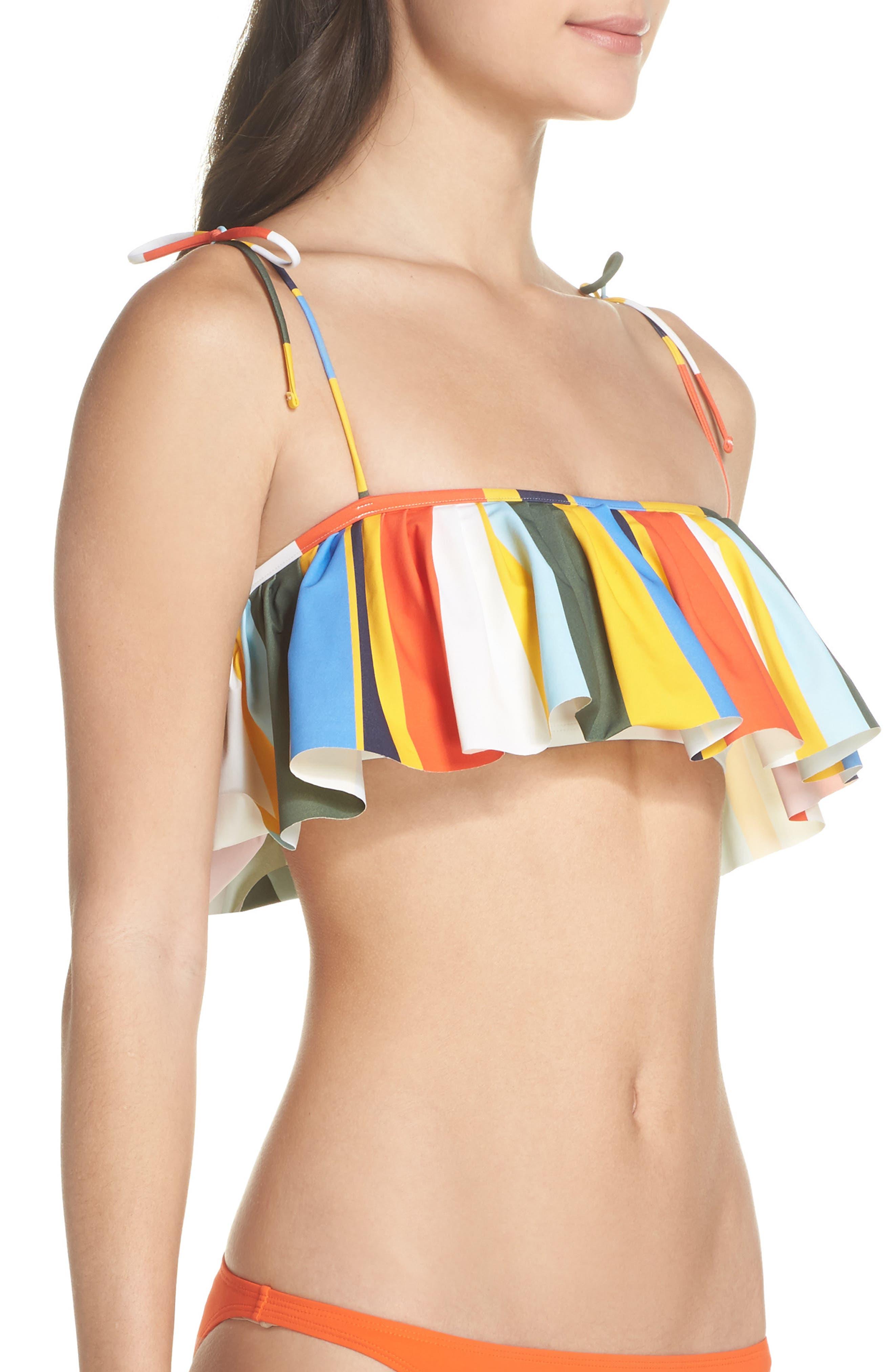 Balloon Stripe Flounce Bikini Top,                             Alternate thumbnail 3, color,                             Tie Dye Balloon Stripe
