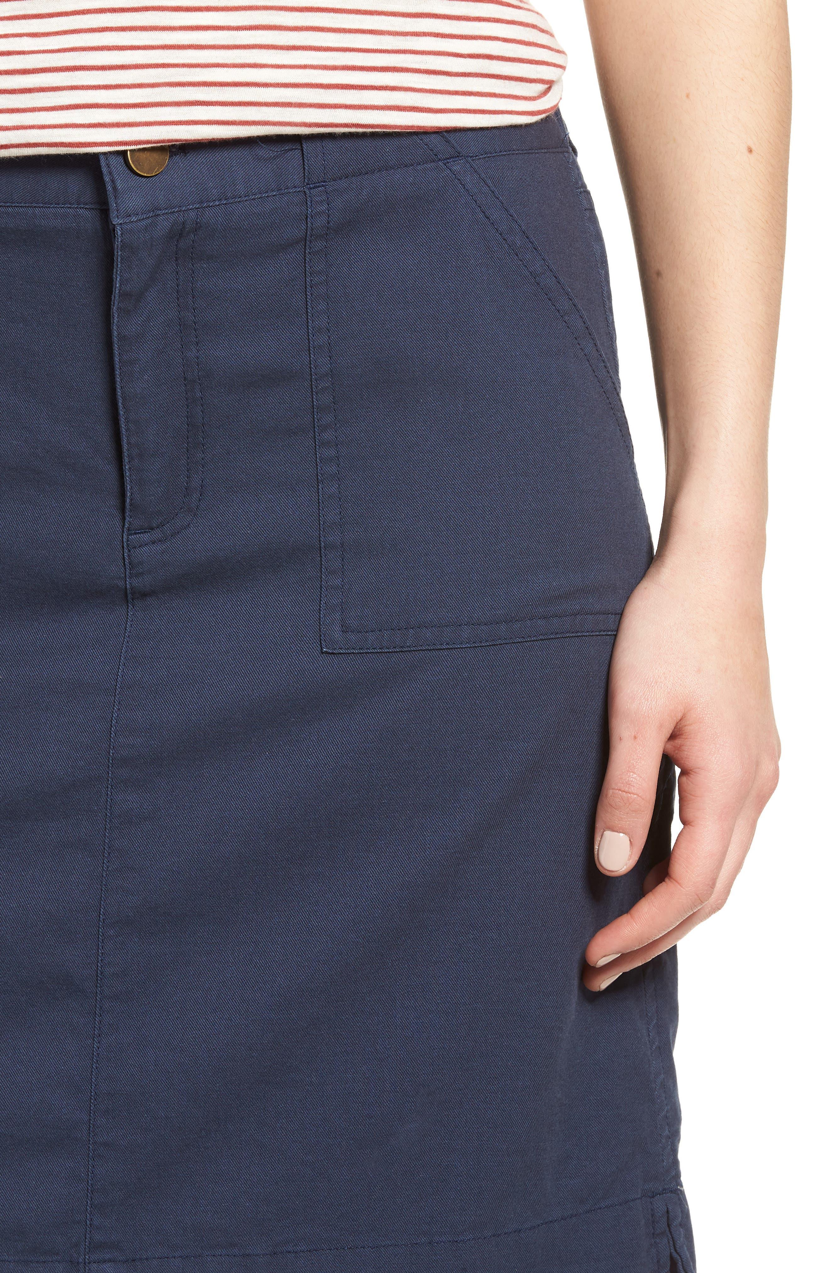 Twill Utility Skirt,                             Alternate thumbnail 4, color,                             Navy Indigo