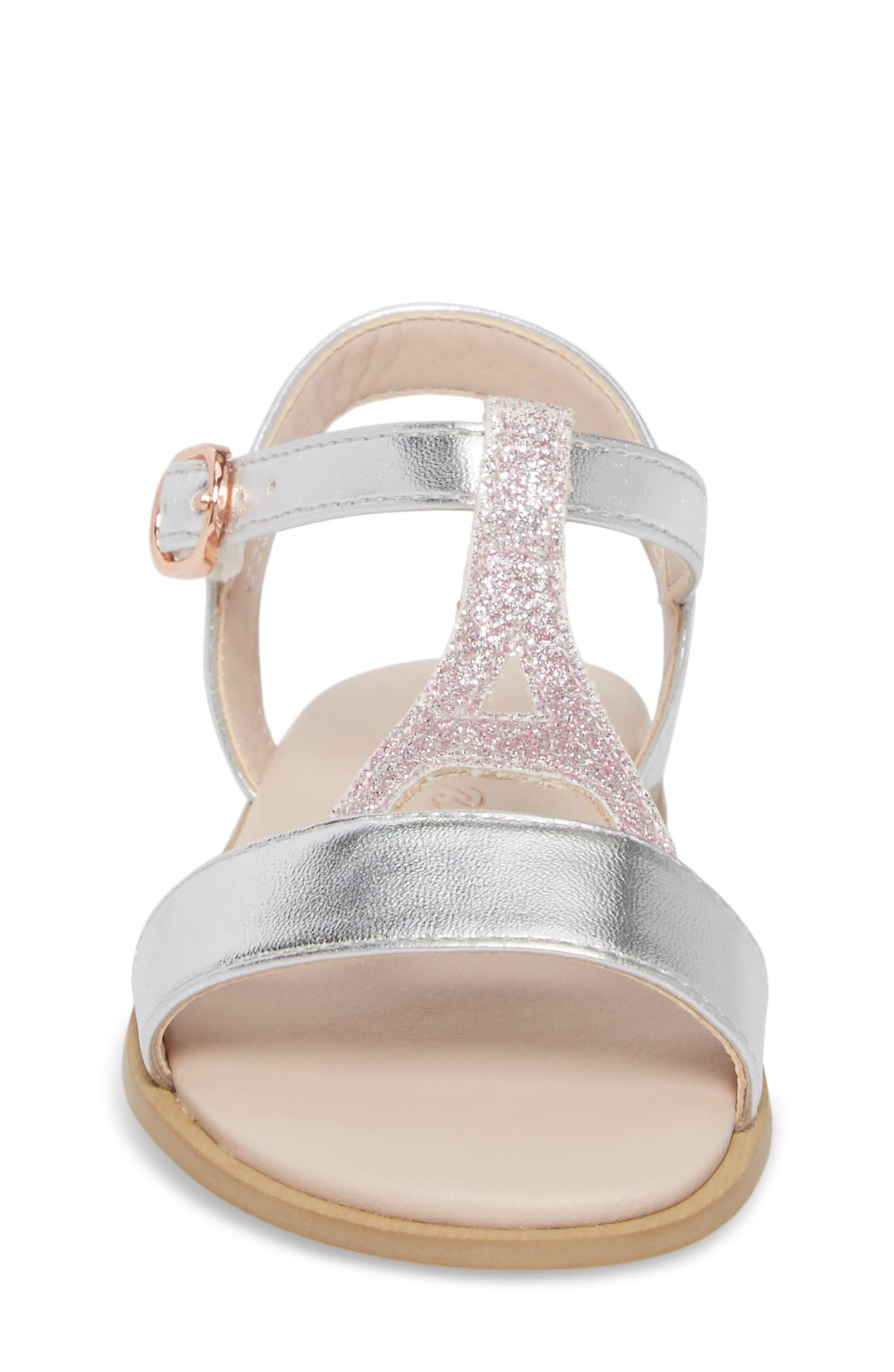 Tegan Glitter T-Strap Sandal,                             Alternate thumbnail 4, color,                             Silver Faux Leather