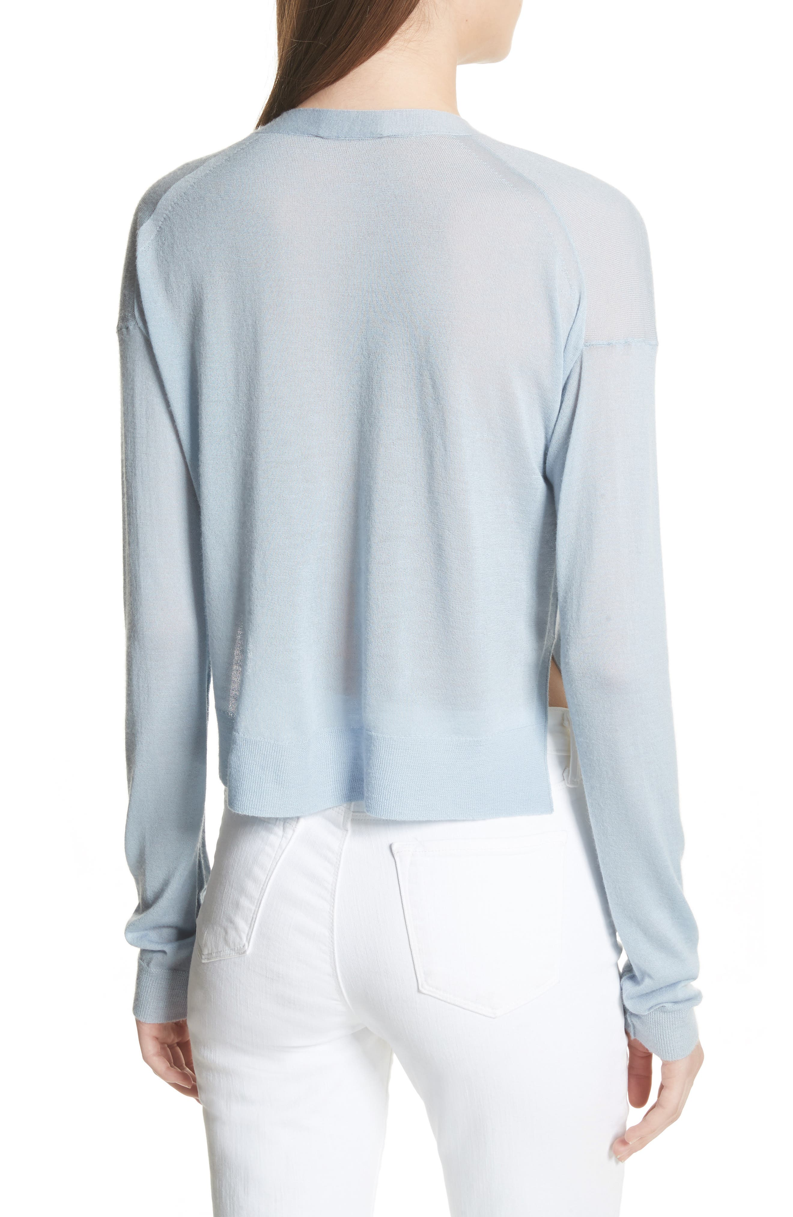 Hanelee Featherweight Cashmere Cardigan,                             Alternate thumbnail 2, color,                             Baby Bluebell