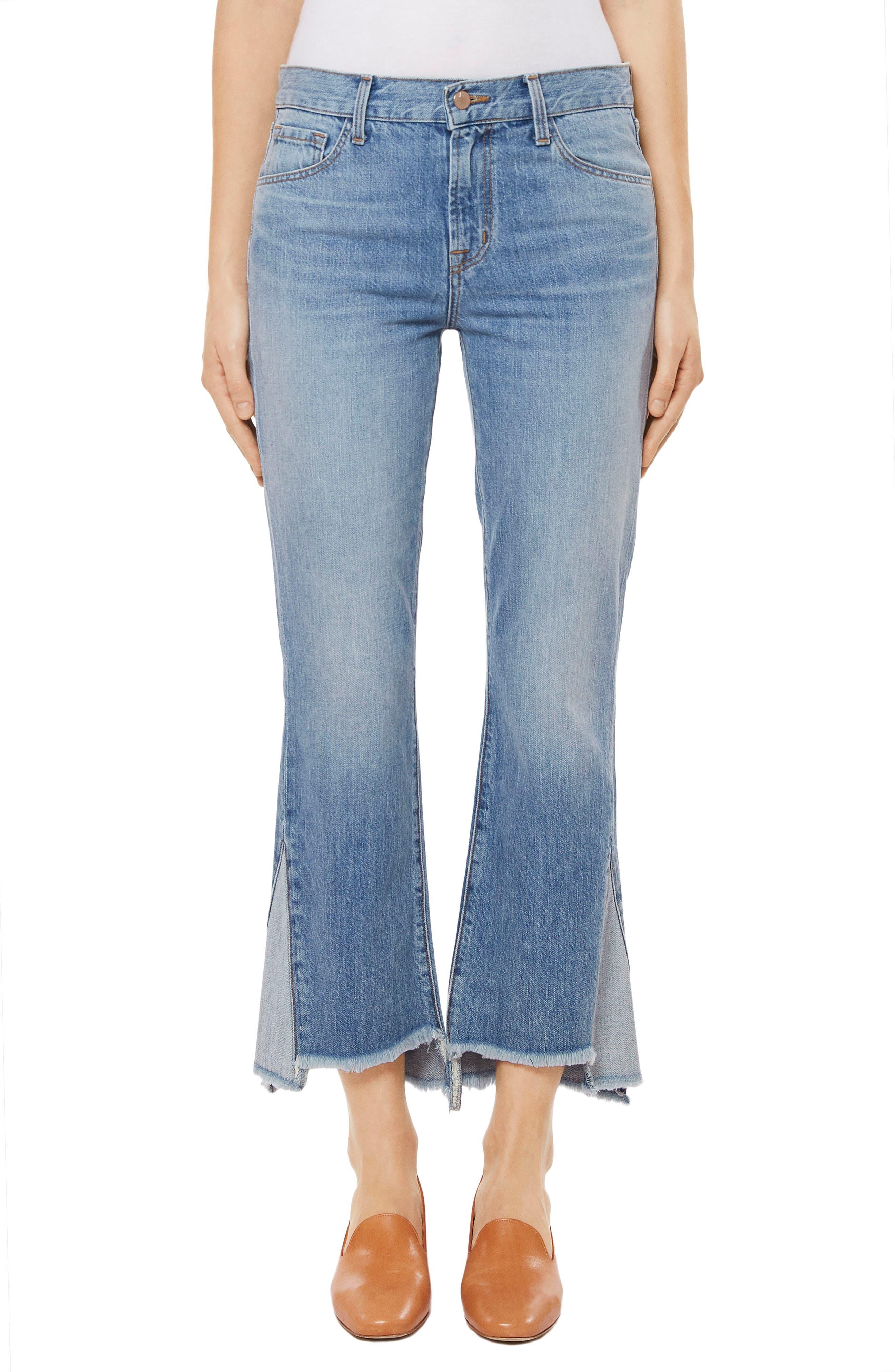 J Brand Aubrie High Waist Crop Step Hem Bootcut Jeans (Hydra)